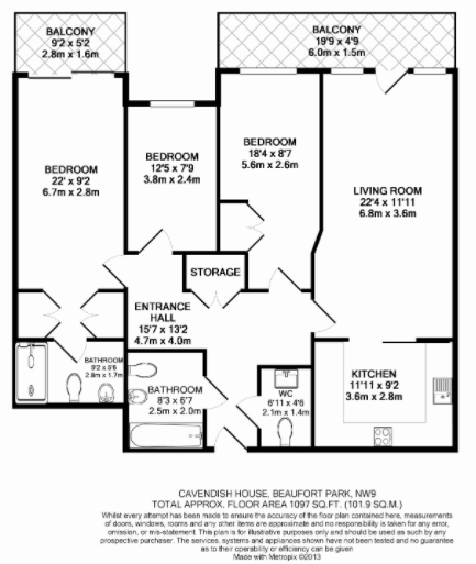 3 bedroom(s) apartment to sale in Cavendish House, Boulevard Drive, Beaufort Park, Colindale-Floorplan