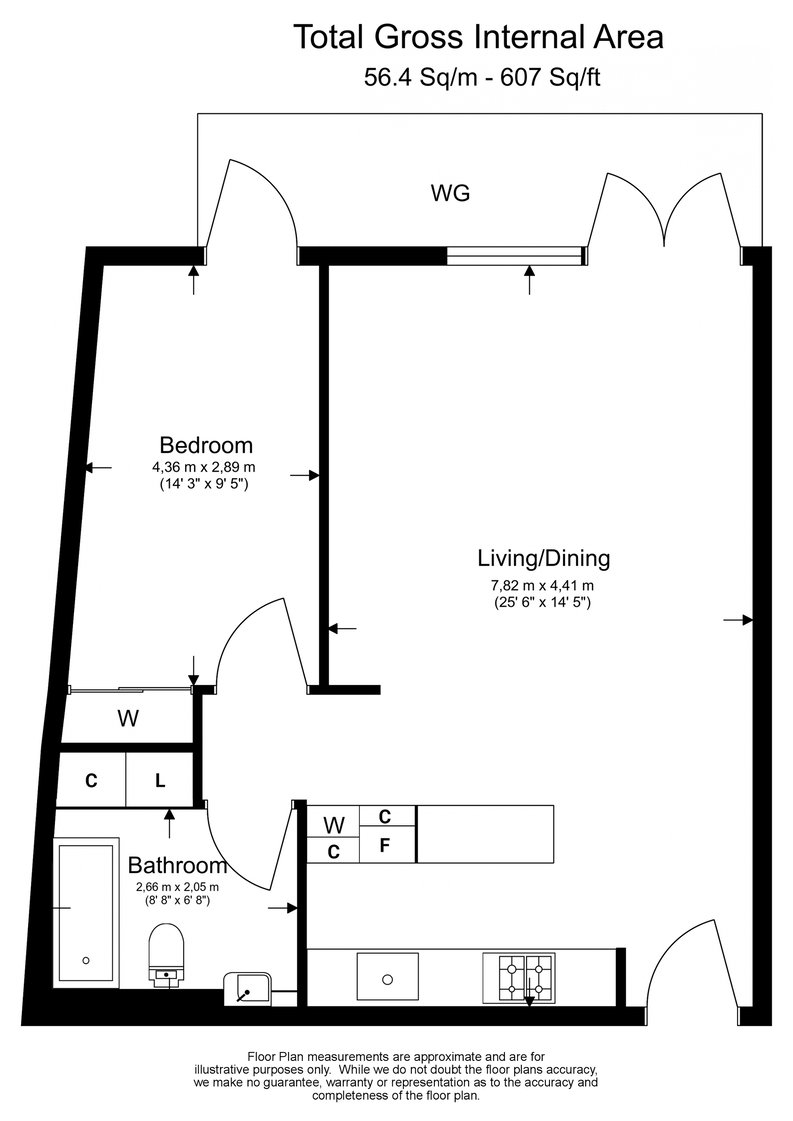 1 bedroom(s) apartment to sale in Ambassador Building, New Union Square, Nine Elms-Floorplan