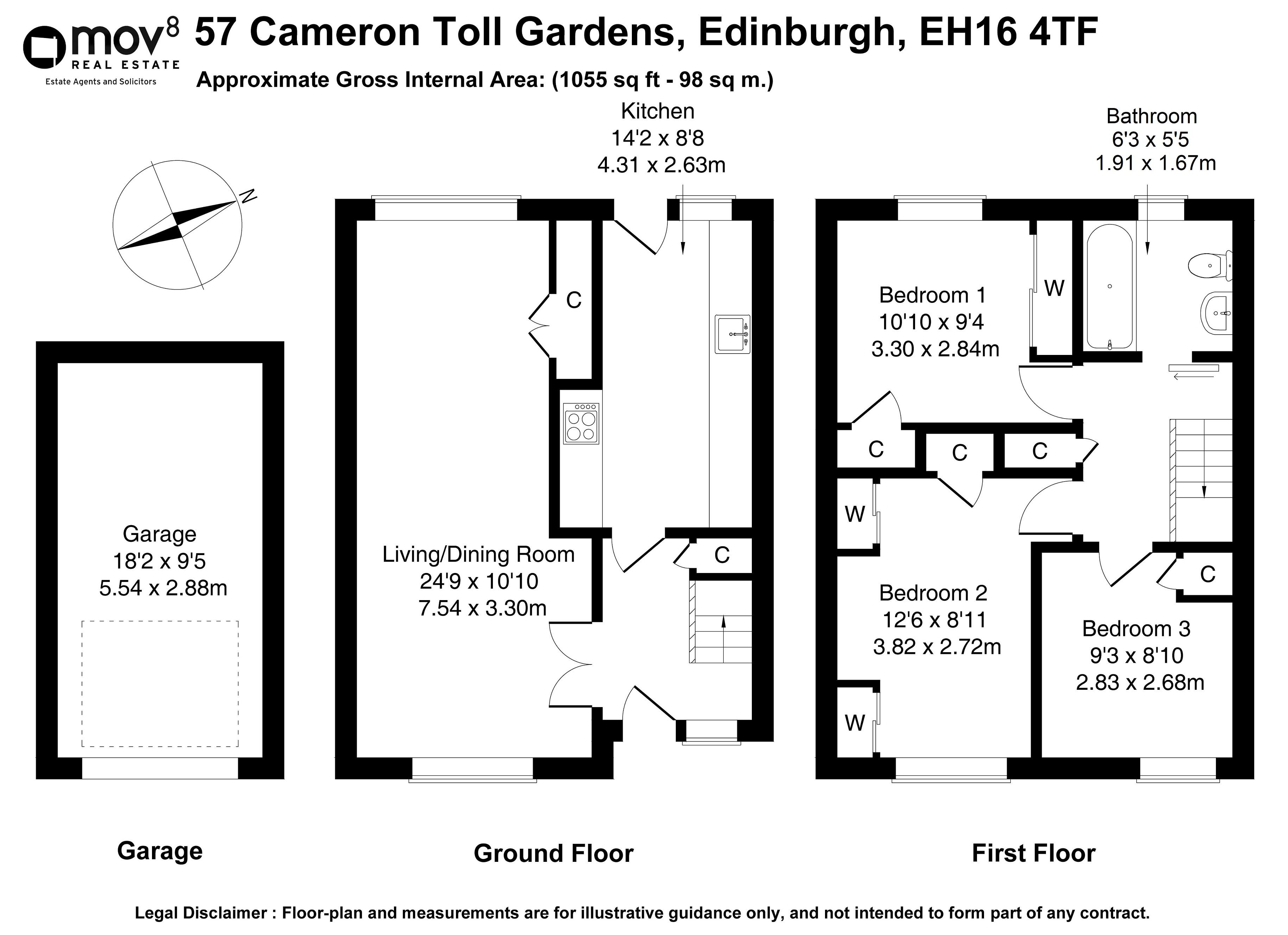 Floorplan 1 of 57 Cameron Toll Gardens, Prestonfield, Edinburgh, EH16 4TF