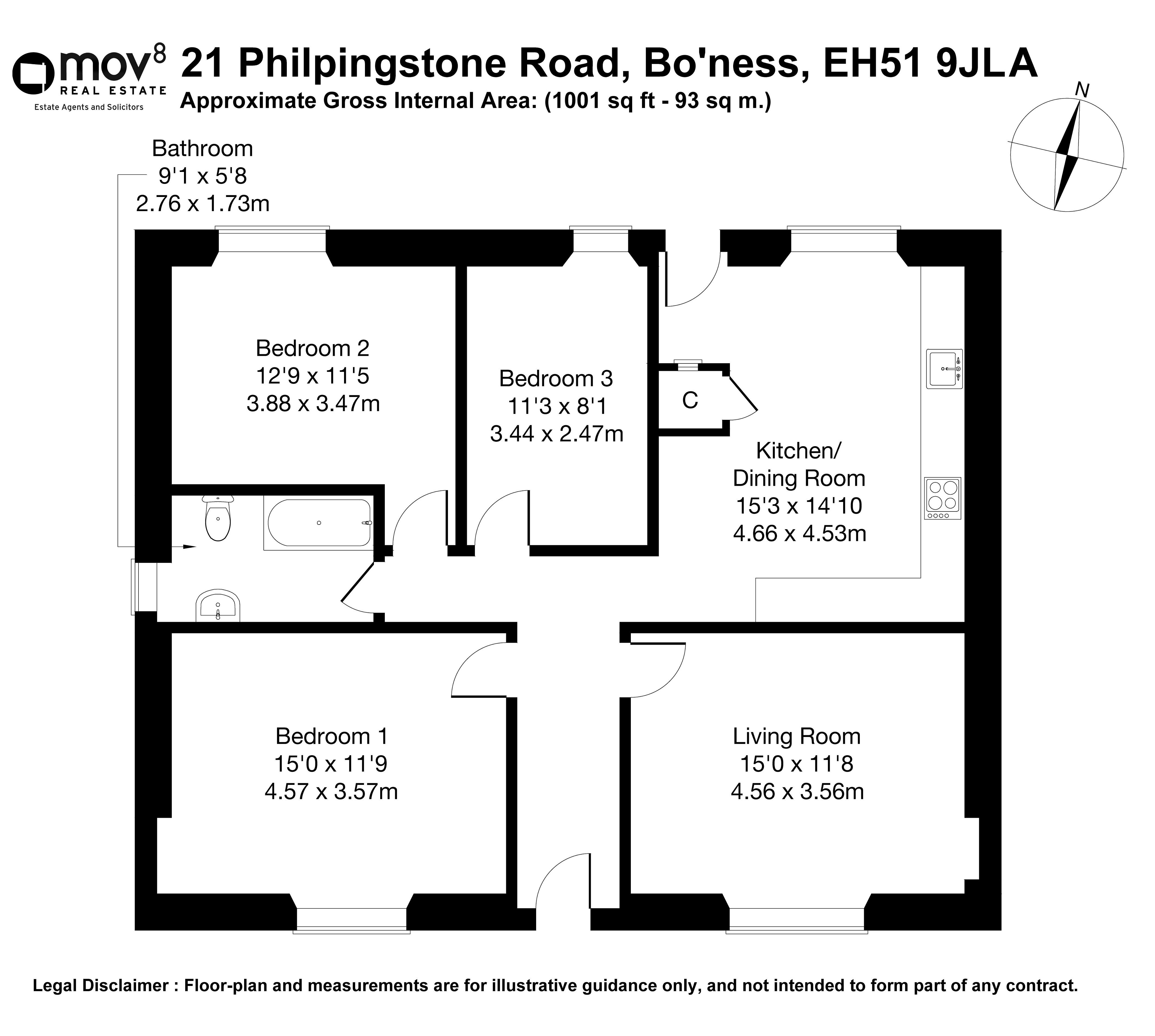 Floorplan 1 of 21 Philpingstone Road, Bo'ness, Falkirk, EH51 9JL