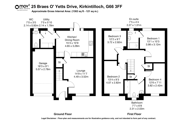 Floorplan 1 of 25 Braes O Yetts Drive, Kirkintilloch, Glasgow, East Dunbartonshire, G66 3FF