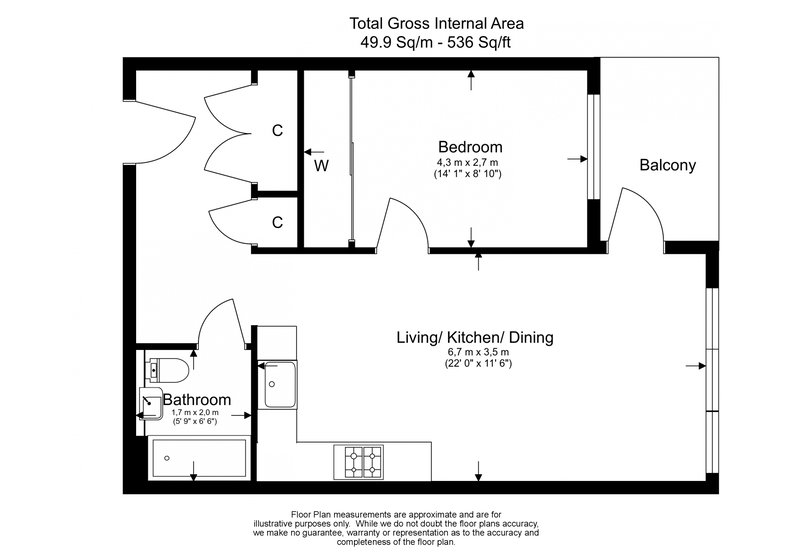 1 bedroom(s) apartment to sale in One The Elephant, St Gabriel Walk, Elephant and Castle-Floorplan
