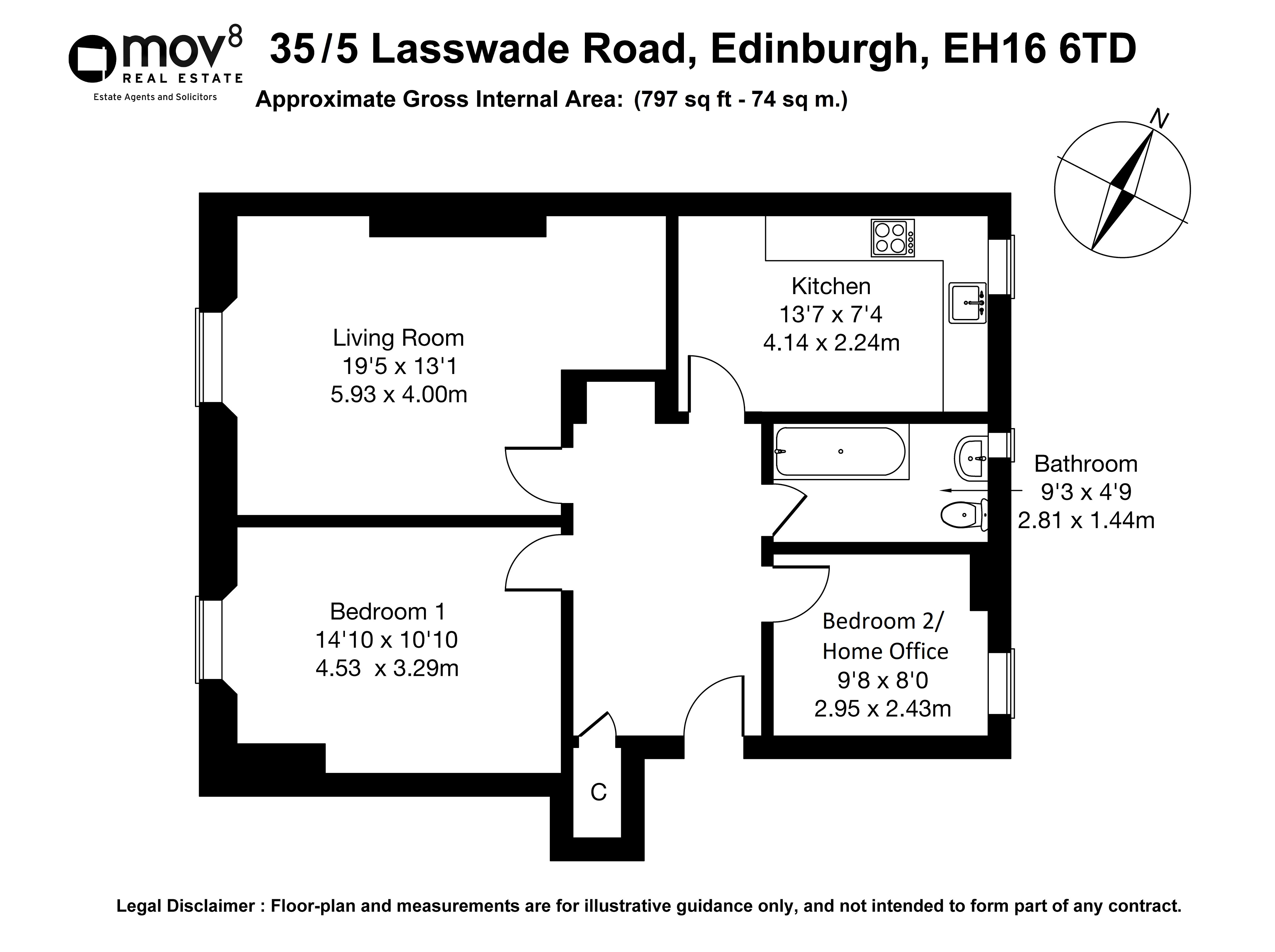 Floorplan 1 of 35/5, Lasswade Road, Liberton, Edinburgh, EH16 6TD