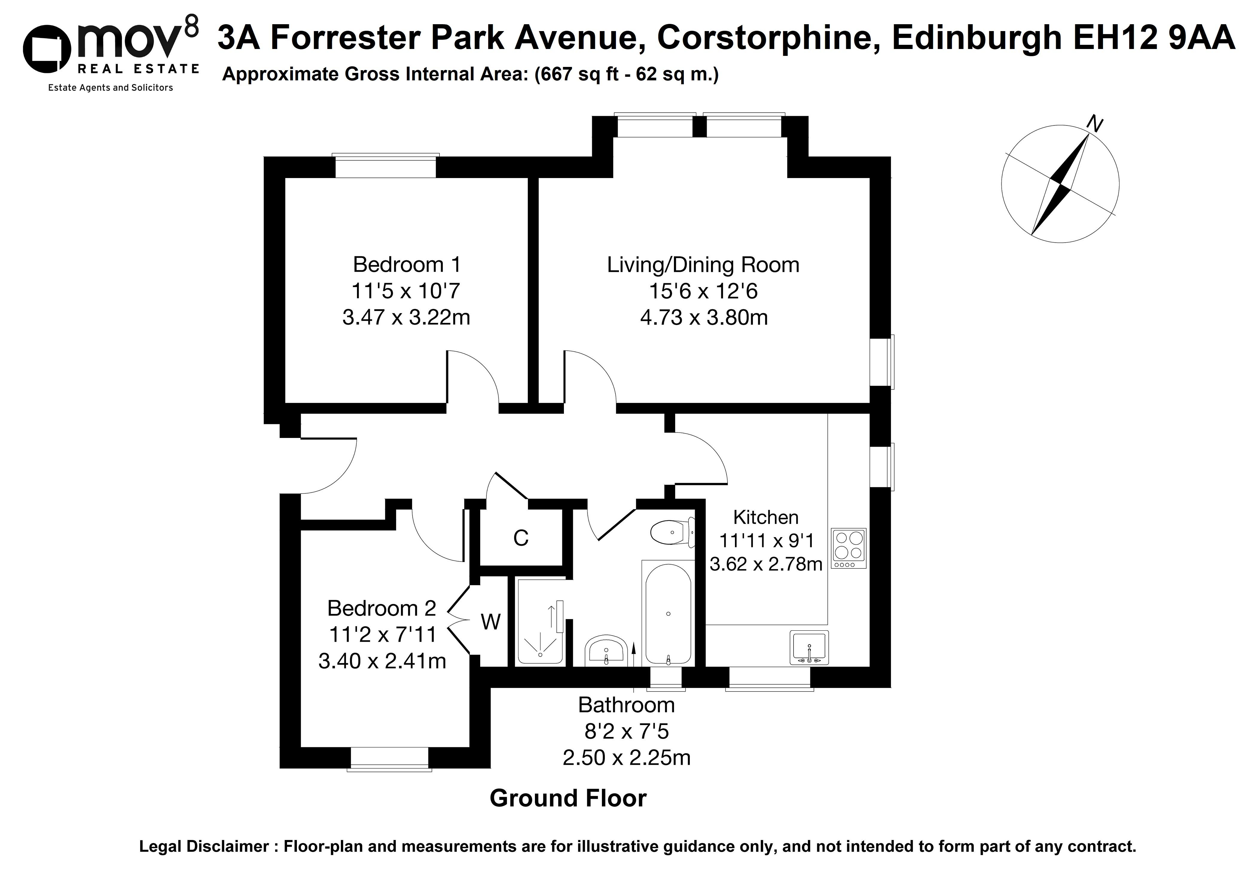 Floorplan 1 of 3a Forrester Park Avenue, Corstorphine, Edinburgh, EH12 9AA