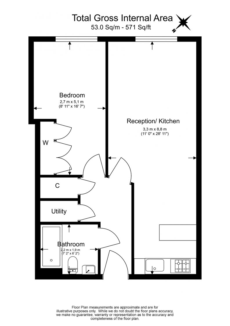 1 bedroom(s) apartment to sale in Peninsula Apartments, Praed Street, London-Floorplan