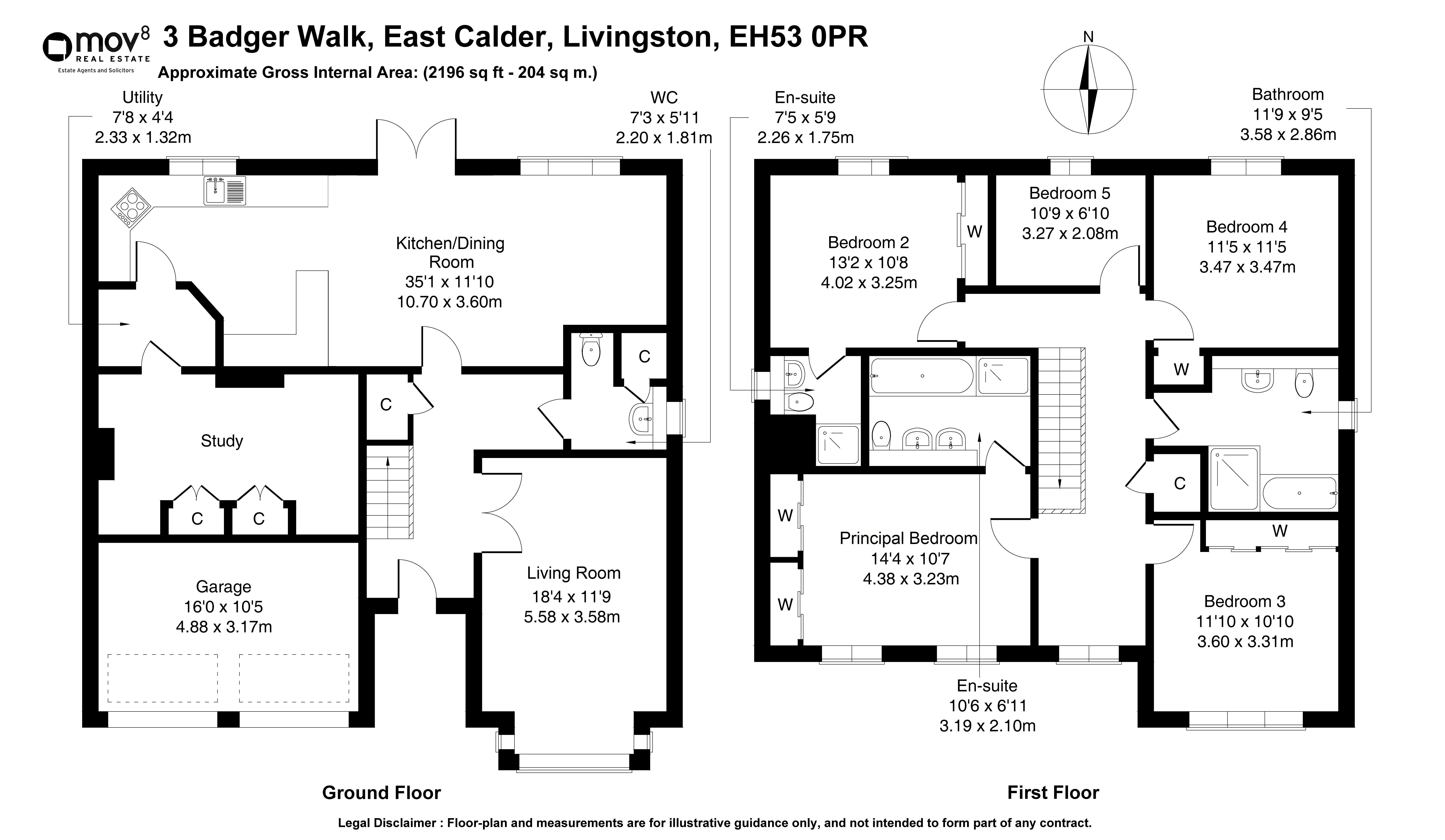 Floorplan 1 of 3 Badger Walk, East Calder, Livingston, West Lothian, EH53 0PR