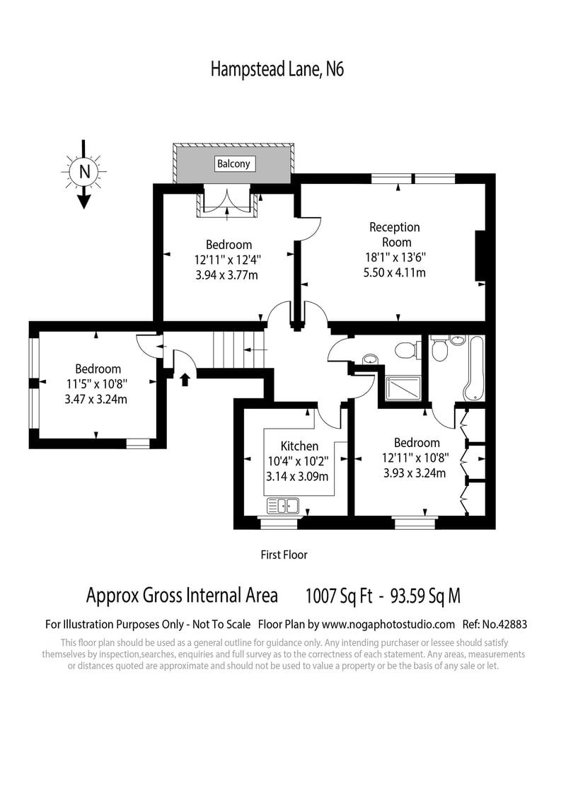 3 bedroom(s) apartment to sale in Hampstead Lane, Highgate-Floorplan