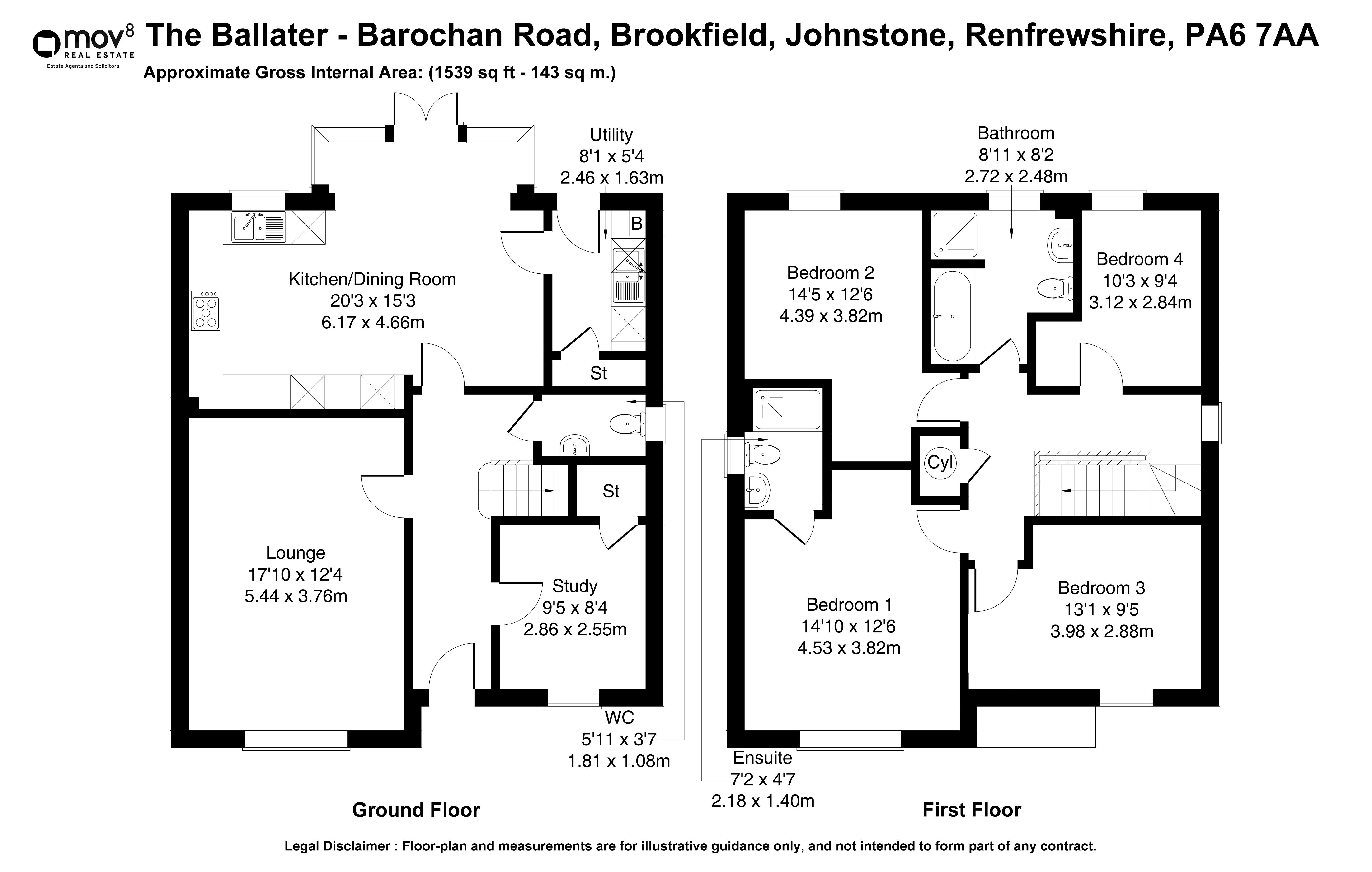 Floorplan 1 of Weirs Wynd , The Ballater Barochan Road, Brookfield, Johnstone, Renfrewshire, PA6 7AA