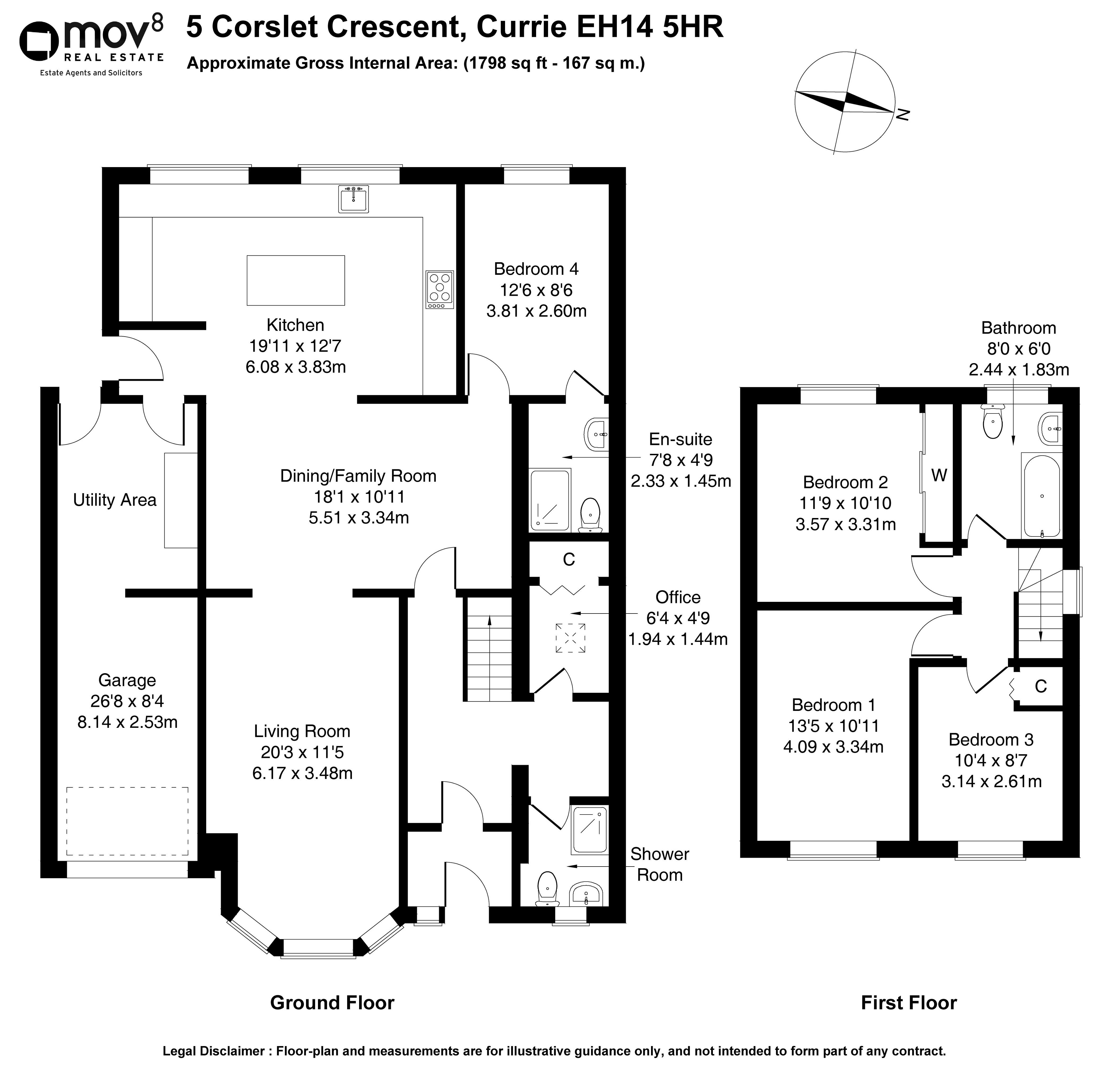 Floorplan 1 of 5 Corslet Crescent, Currie, City of Edinburgh, EH14 5HR