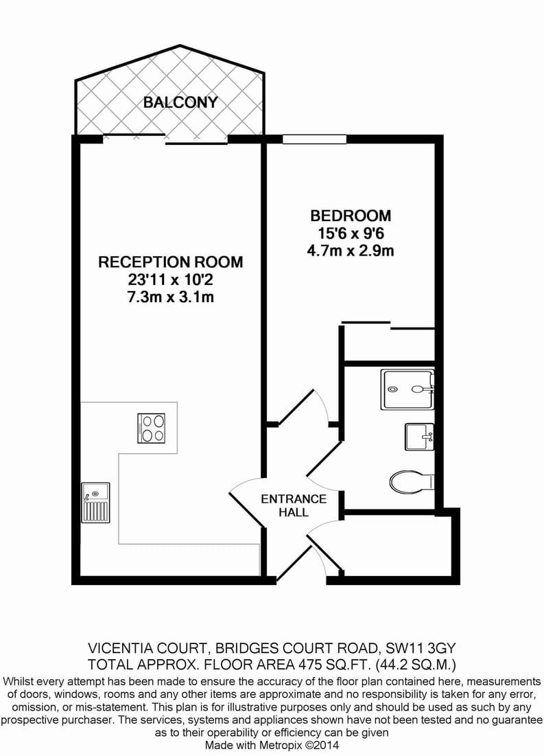 1 bedroom(s) apartment to sale in Vicentia Court, Bridges Court Road, London-Floorplan