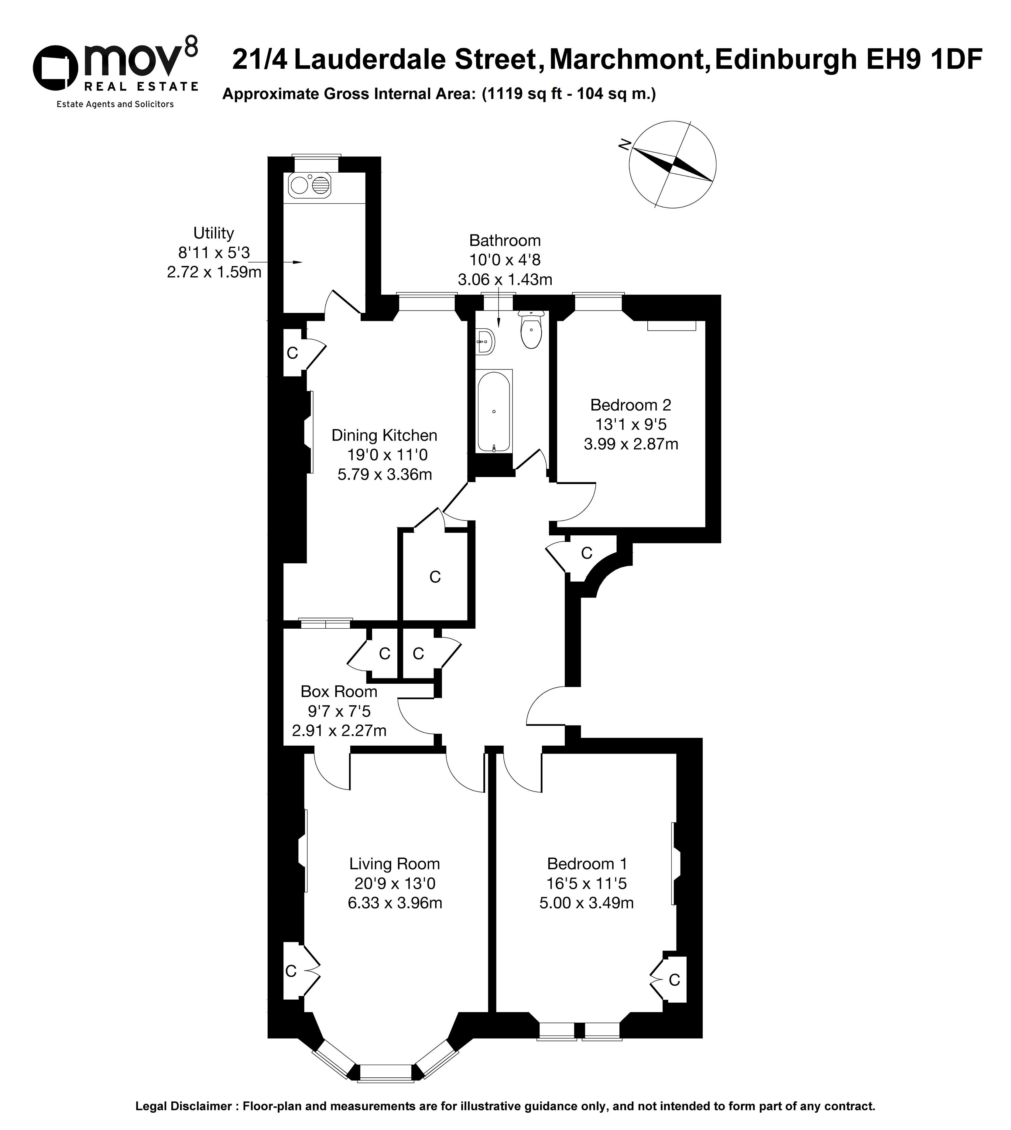 Floorplan 1 of 21/4, Lauderdale Street, Marchmont, Edinburgh, EH9 1DF