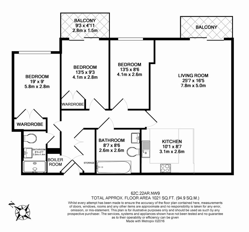 3 bedroom(s) apartment to sale in Carvell House, 22 Aerodrome Road, Beaufort Park, Colindale-Floorplan
