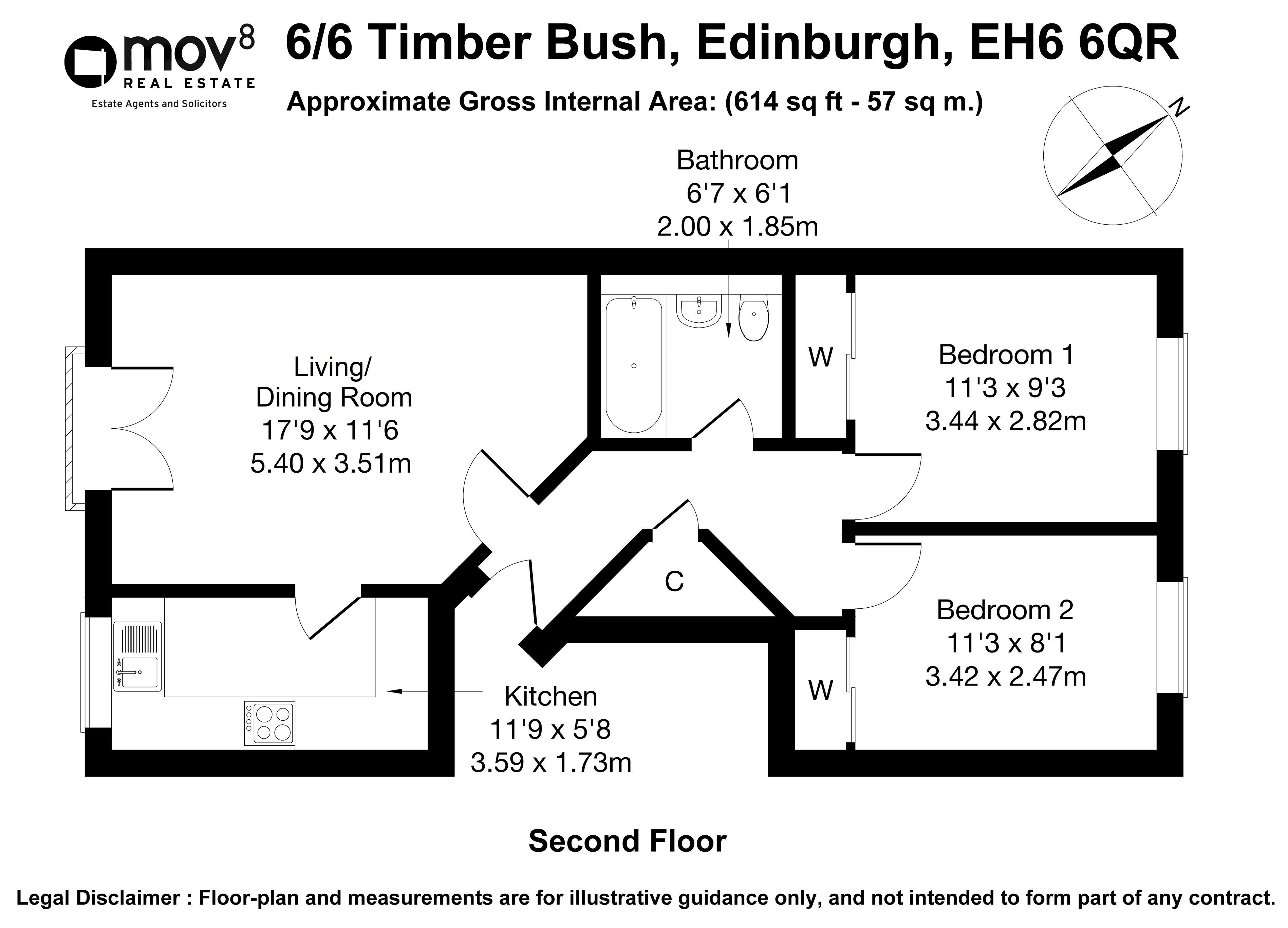 Floorplan 1 of 6/6 Timber Bush, The Shore, Edinburgh, EH6 6QR