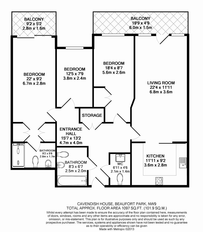 3 bedroom(s) apartment to sale in Cavendish House, 6 Boulevard Drive, London-Floorplan