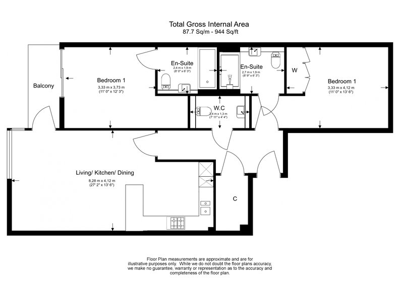 2 bedroom(s) apartment to sale in Argent House, Beaufort Park , London-Floorplan