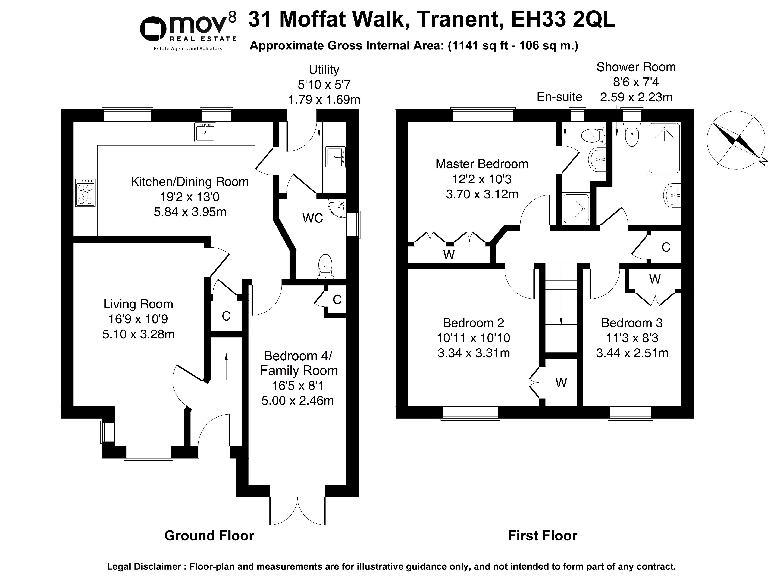 Floorplan 1 of  31 Moffat Walk, Tranent, East Lothian, EH33 2QL