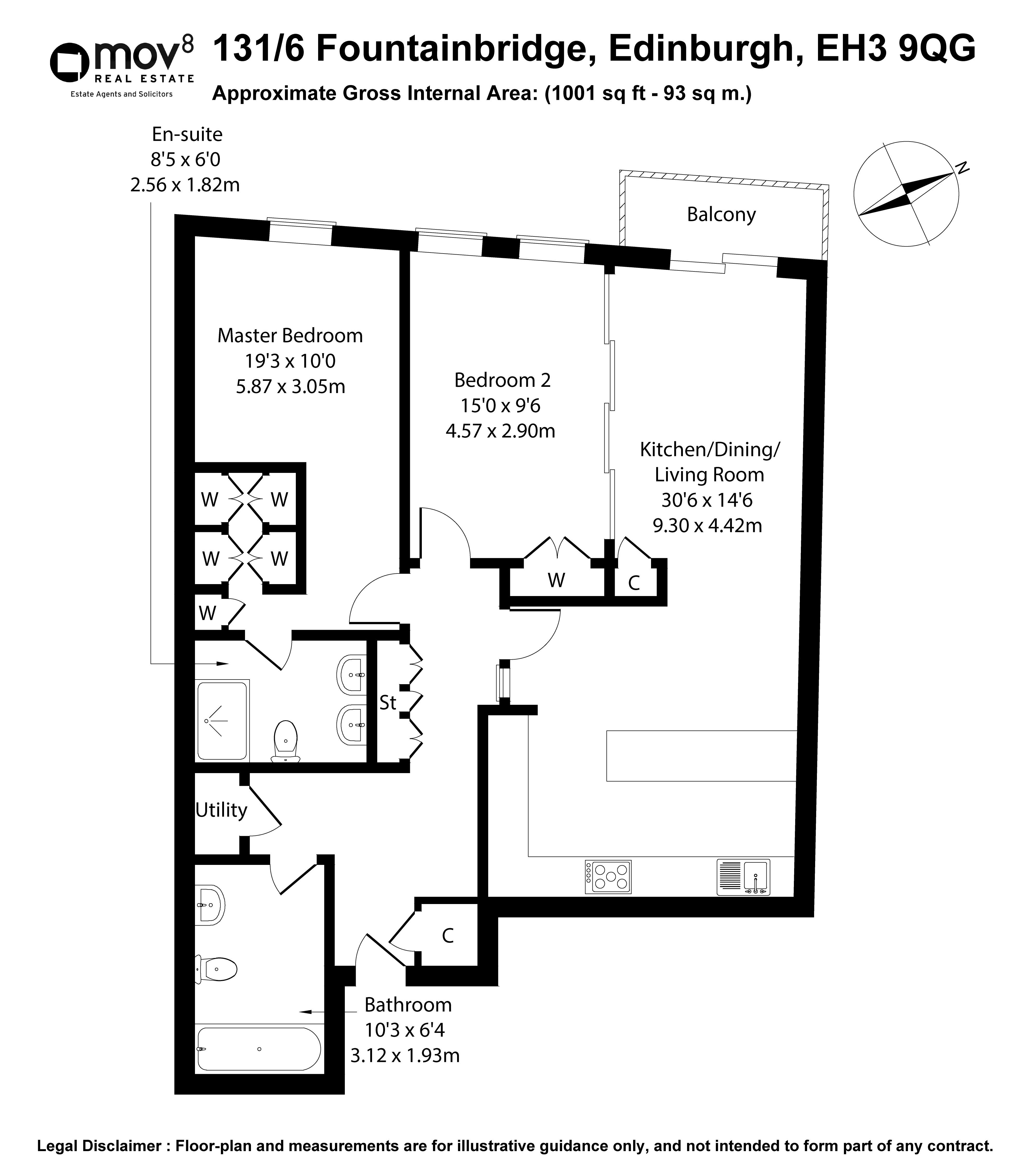 Floorplan 1 of 131/6 Fountainbridge, Fountainbridge, Edinburgh, EH3 9QG