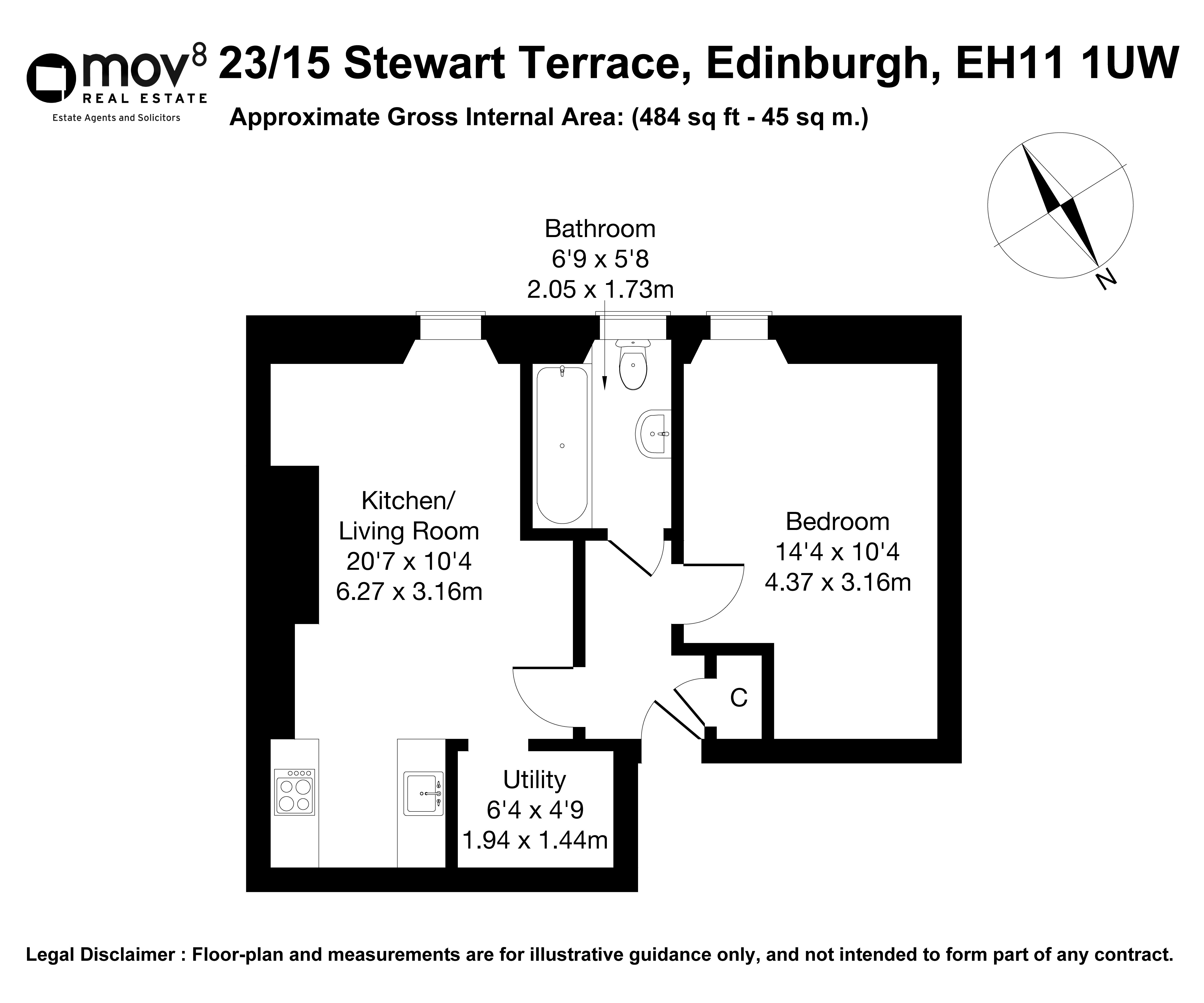 Floorplan 1 of 23/15, Stewart Terrace, Gorgie, Edinburgh, EH11 1UW