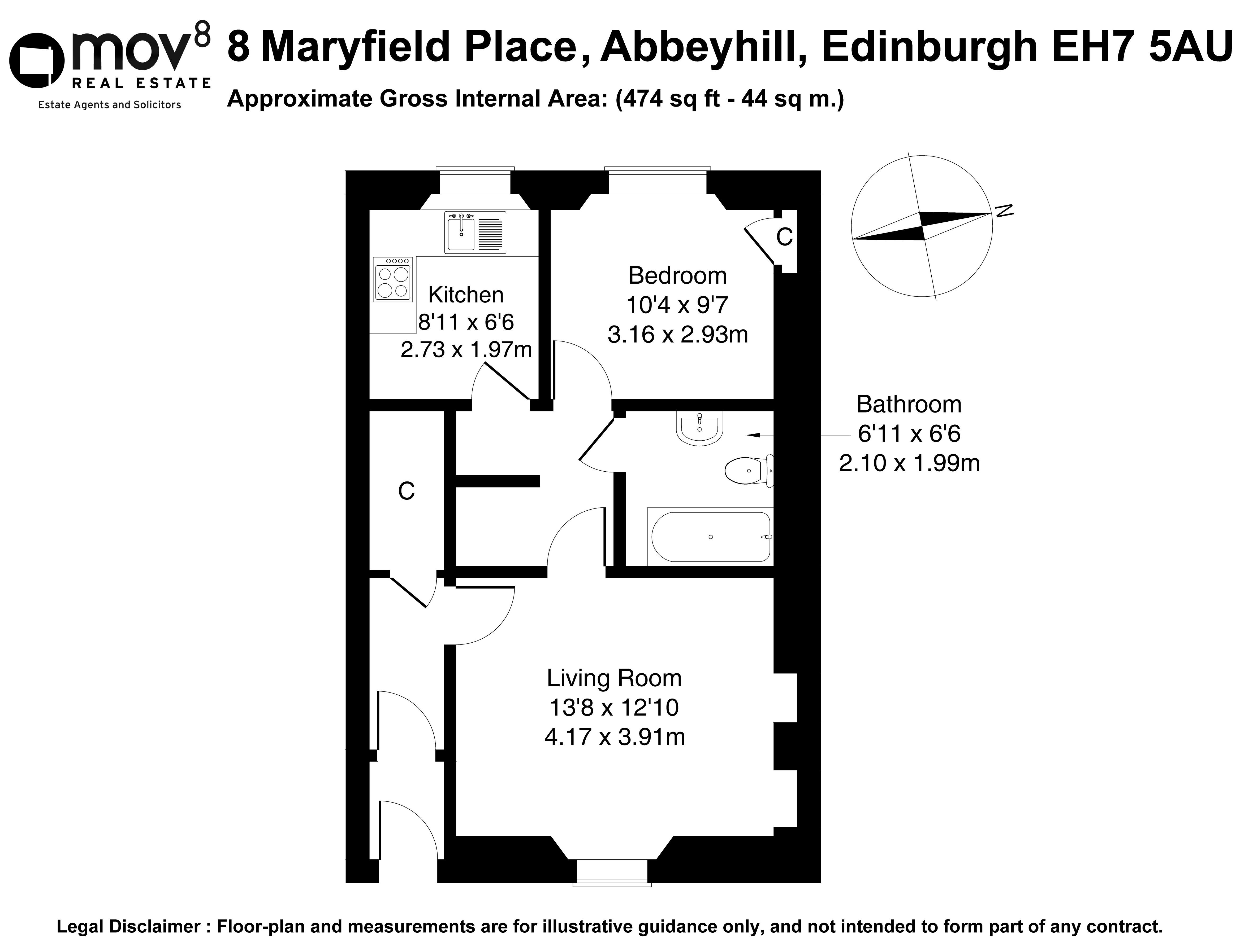 Floorplan 1 of 8 Maryfield Place, Abbeyhill, Edinburgh, EH7 5AU