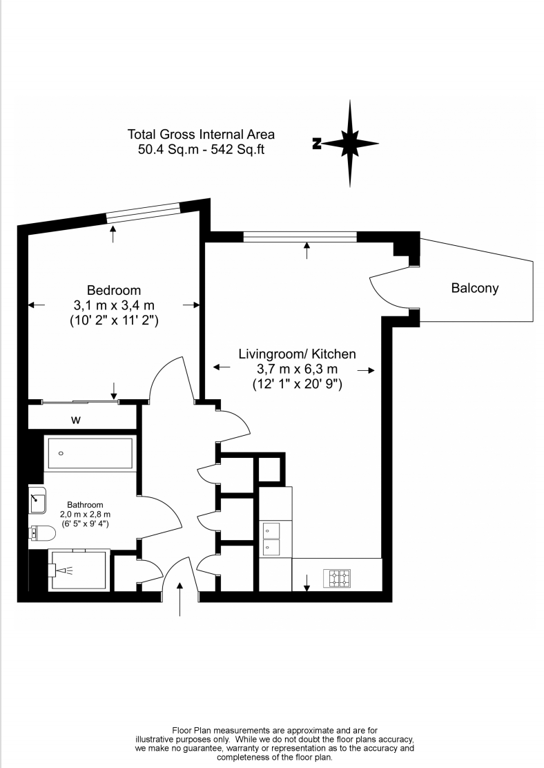 1 bedroom(s) apartment to sale in Lariat Apartments, Cable Walk, Greenwich, London-Floorplan