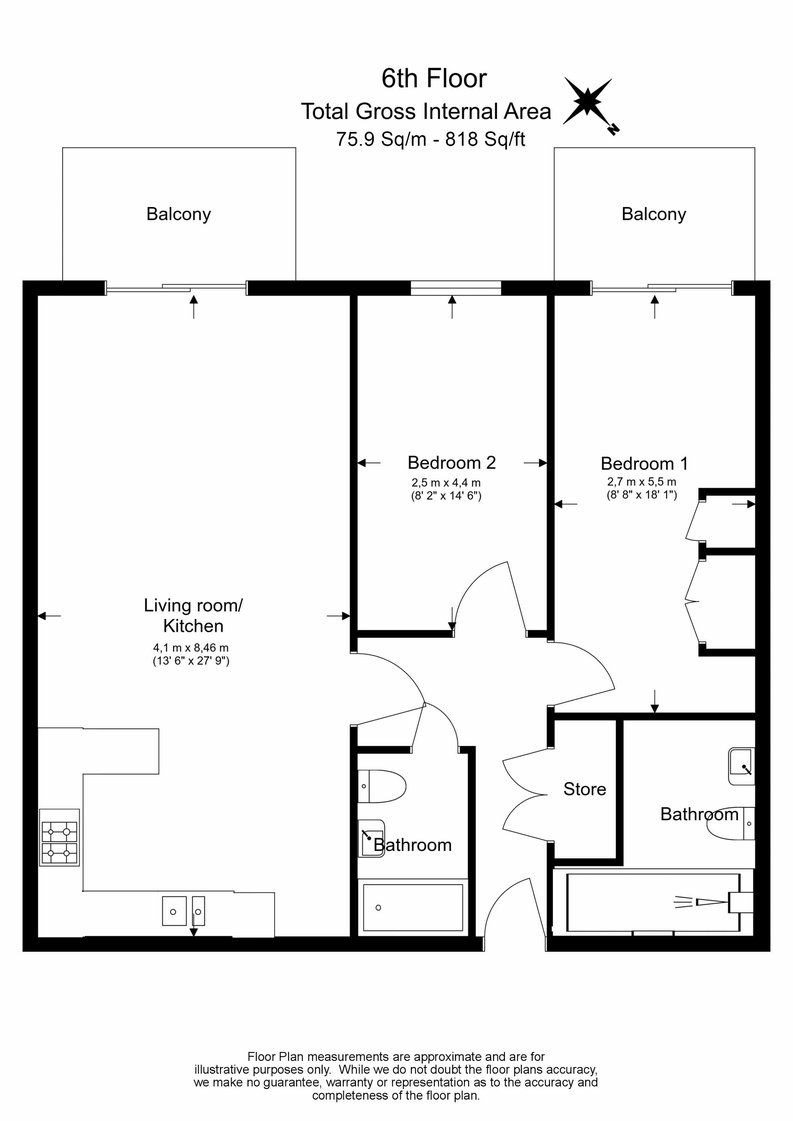 2 bedroom(s) apartment to sale in 22 Aerodrome Road, Beaufort Park-Floorplan