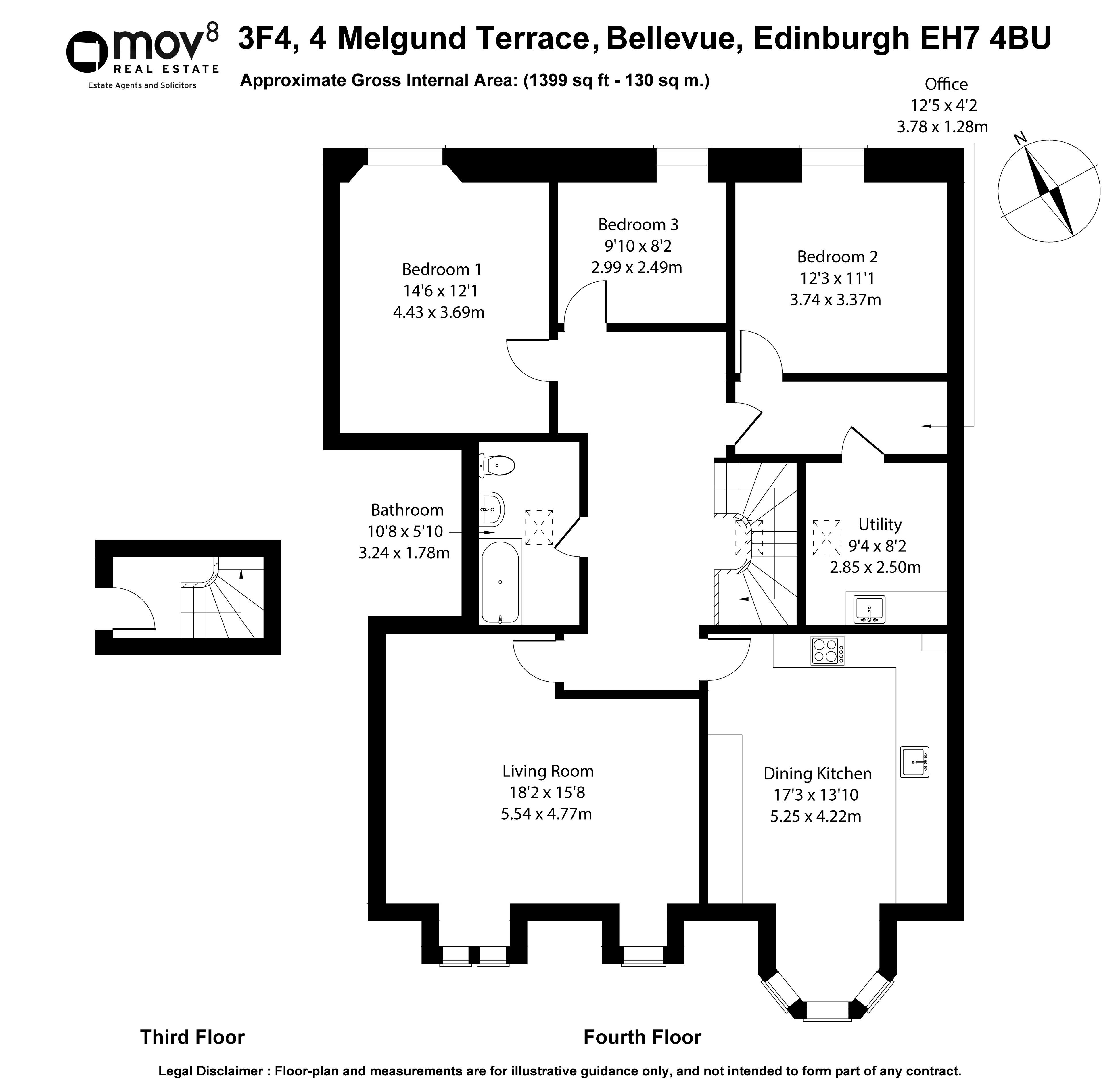 Floorplan 1 of 3F4, 4 Melgund Terrace, Bellevue, Edinburgh, EH7 4BU