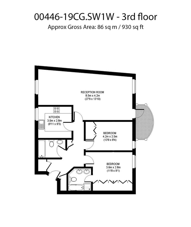 2 bedroom(s) apartment to sale in Chelsea Gate Apartments, 93 Ebury Bridge Road, Sloane Square-Floorplan