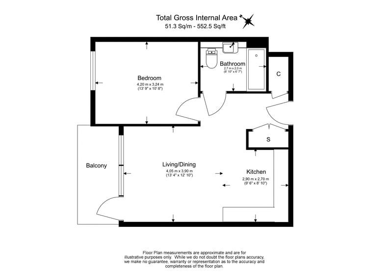 1 bedroom(s) apartment to sale in Lambert Mansions, Clarendon, Harringay-Floorplan