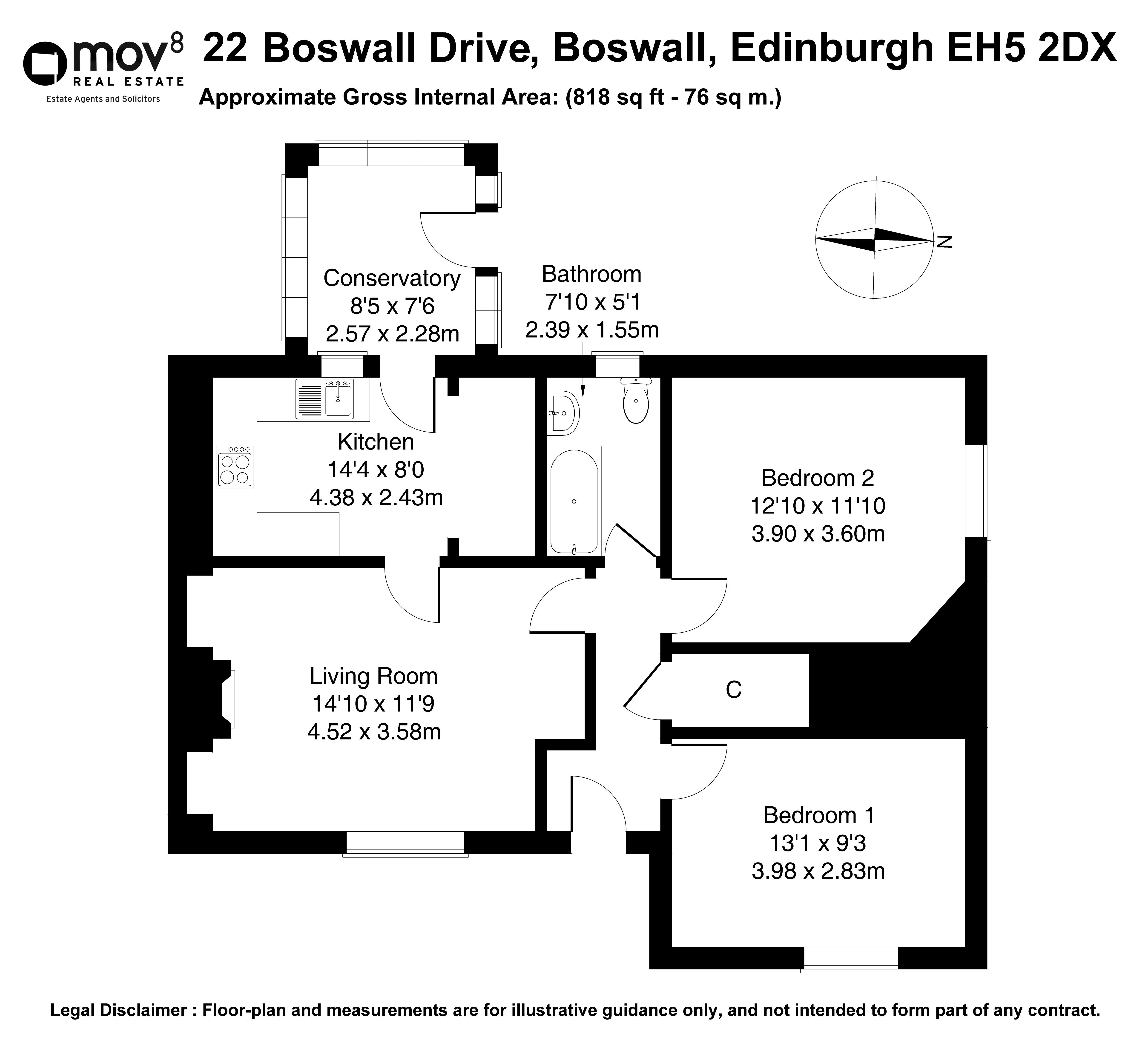 Floorplan 1 of 22 Boswall Drive, Boswall, Edinburgh, EH5 2DX