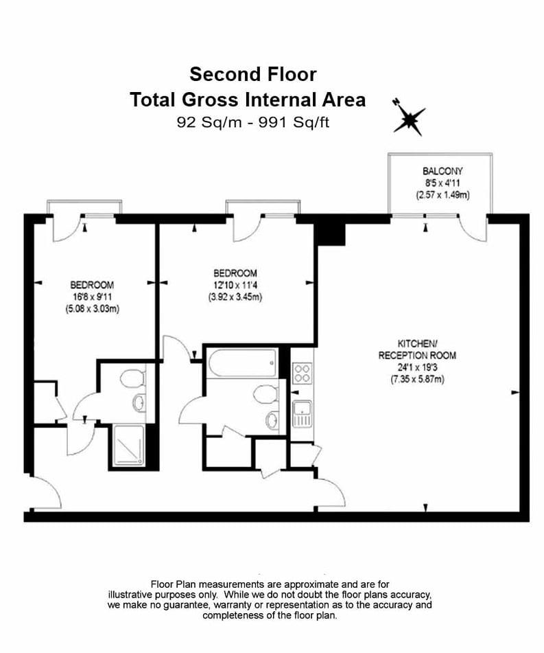 2 bedroom(s) apartment to sale in Roach Road, Hackney Wick, London-Floorplan