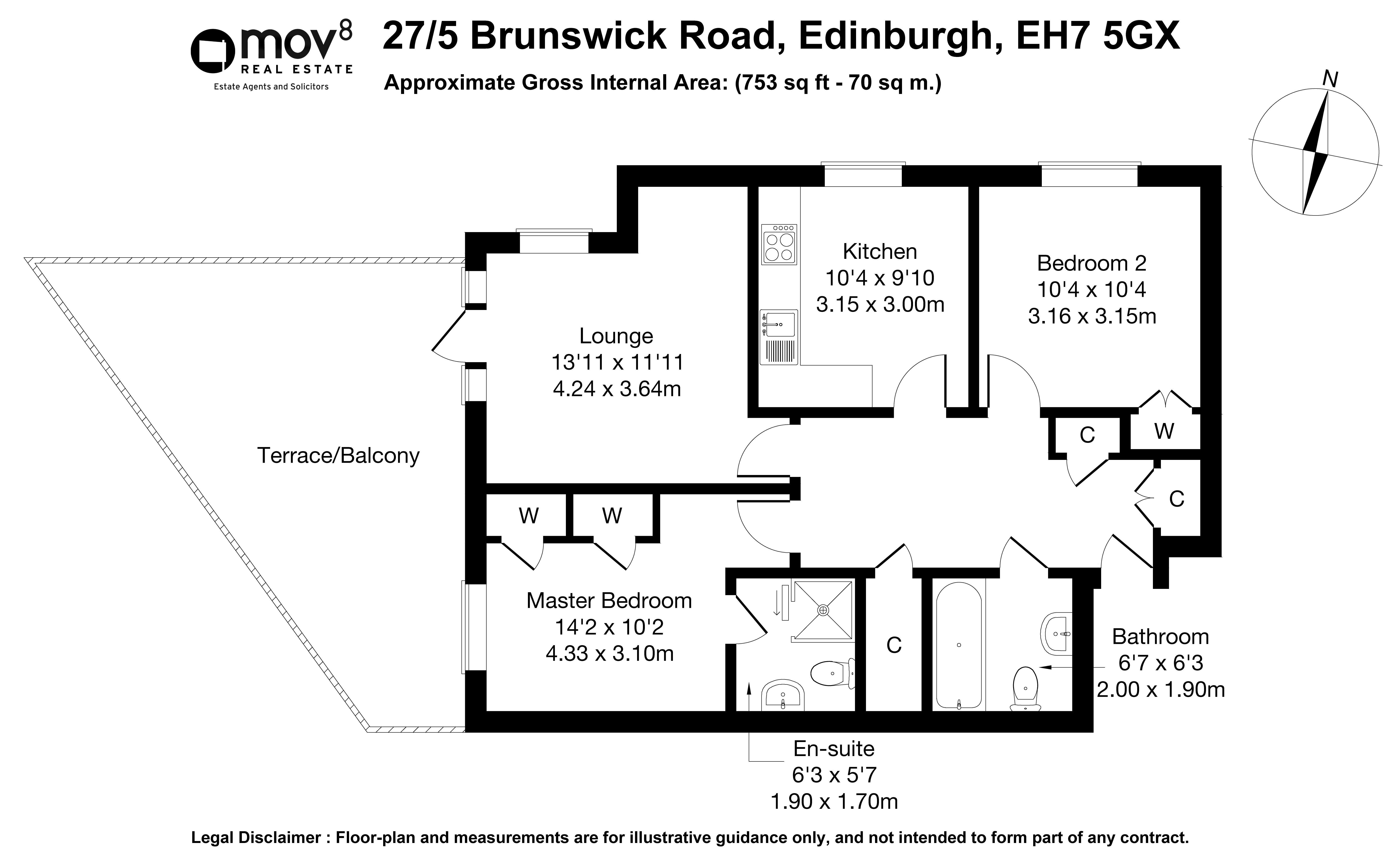 Floorplan 1 of 27/5, Brunswick Road, Brunswick, Edinburgh, EH7 5GX