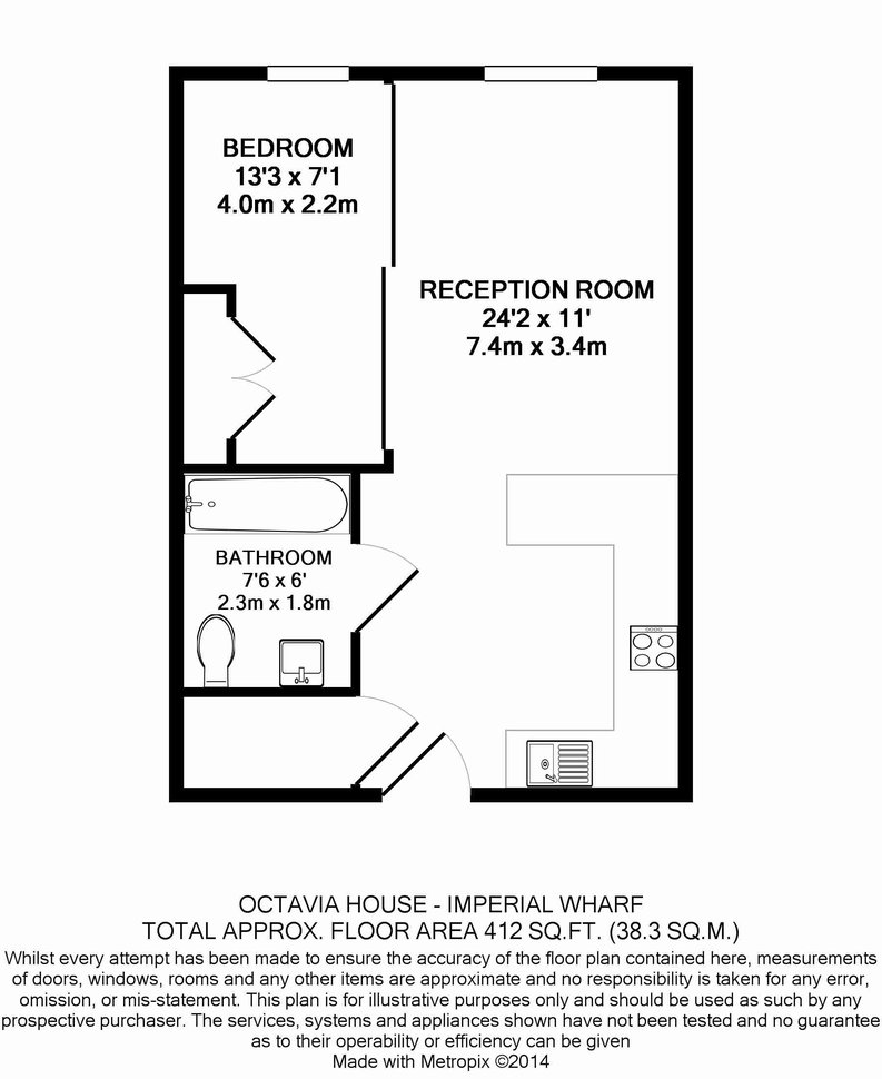 1 bedroom(s) apartment to sale in Octavia House, 213 Townmead Road, London-Floorplan