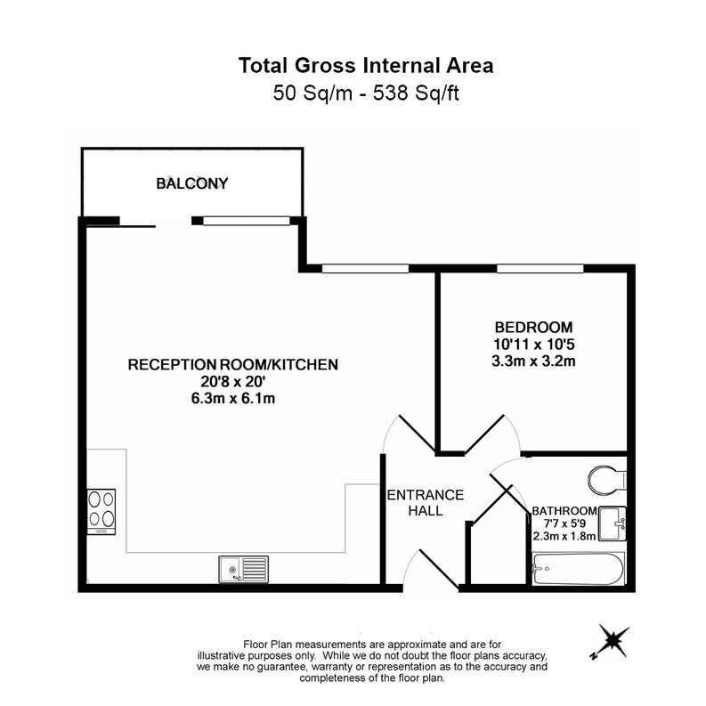 1 bedroom(s) apartment to sale in Cornmill House, 4 Wharf Street, London-Floorplan