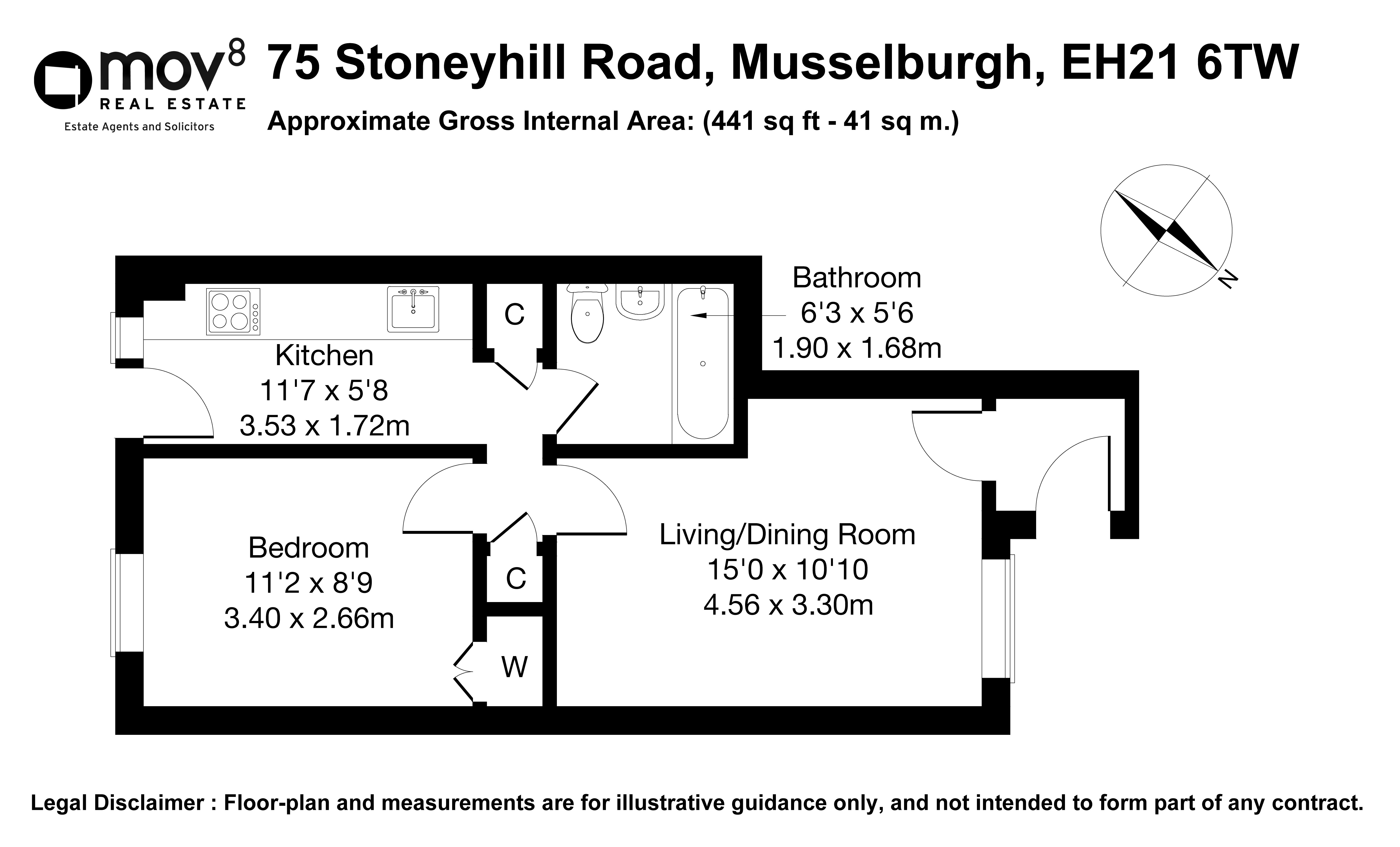 Floorplan 1 of 75 Stoneyhill Road, Musselburgh, East Lothian, EH21 6TW