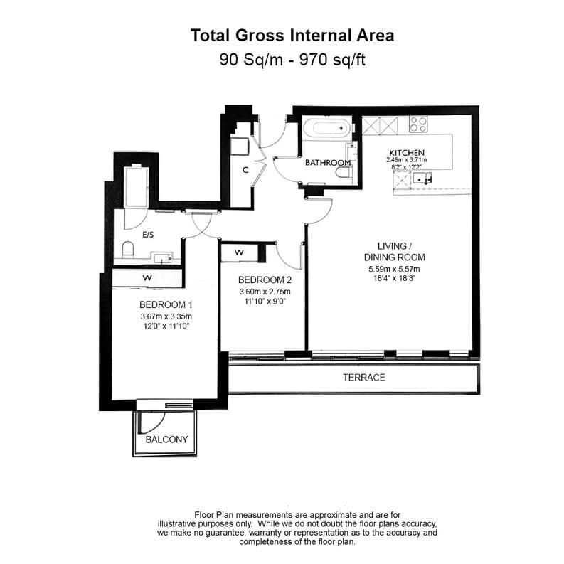 2 bedroom(s) apartment to sale in Provenance House, 8 Kew Bridge Road, Brentford-Floorplan