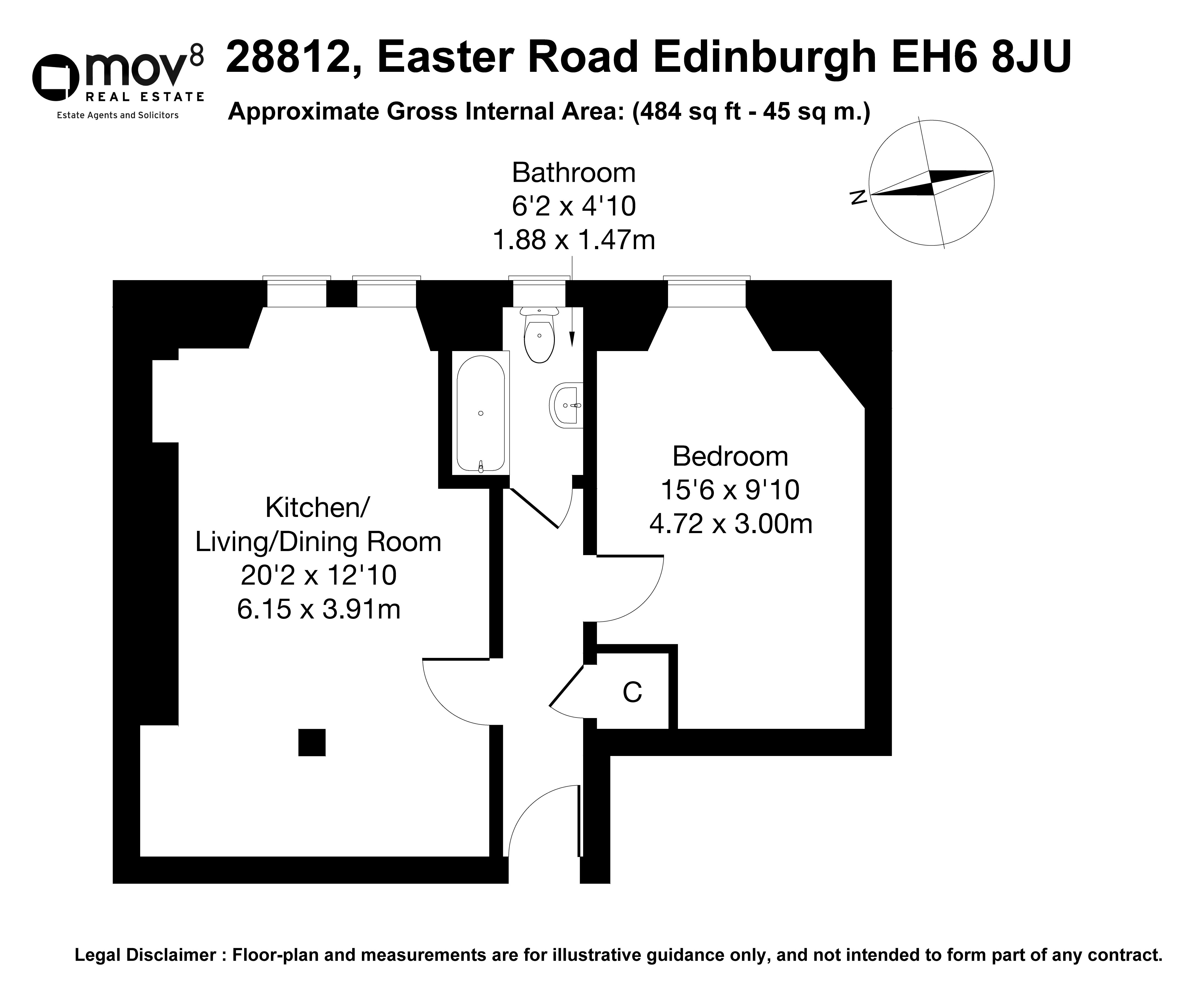 Floorplan 1 of 288/12, Easter Road, Easter Road, Edinburgh, EH6 8JU