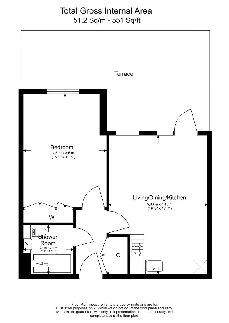 1 bedroom(s) apartment to sale in Fairbank House, Beaufort Square, Beaufort Park, Colindale-Floorplan