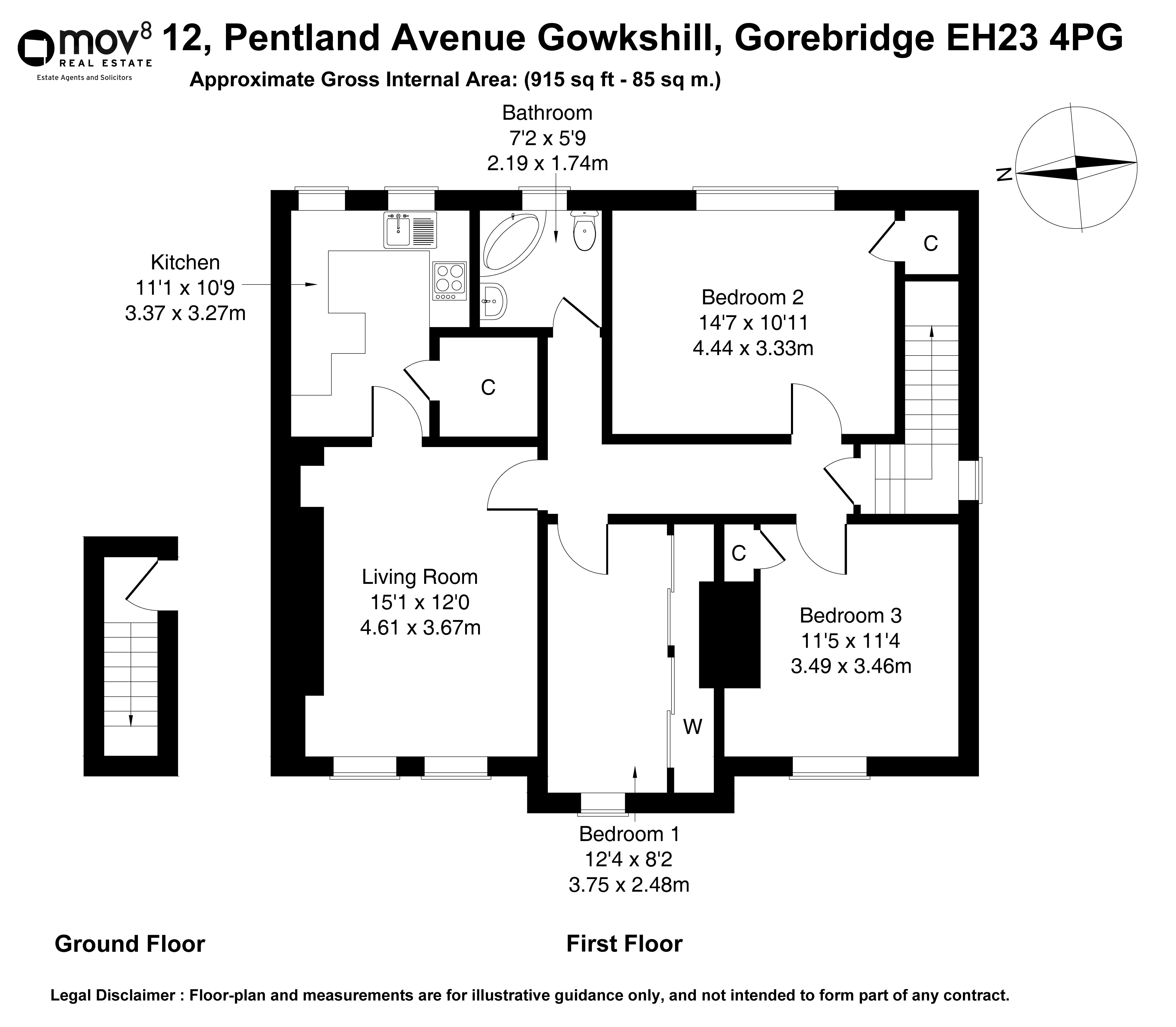 Floorplan 1 of 12 Pentland Avenue, Gowkshill, Gorebridge, Midlothian, EH23 4PG