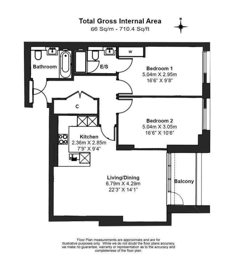 2 bedroom(s) apartment to sale in Marquis House, Sovereign Court, Hammersmith-Floorplan
