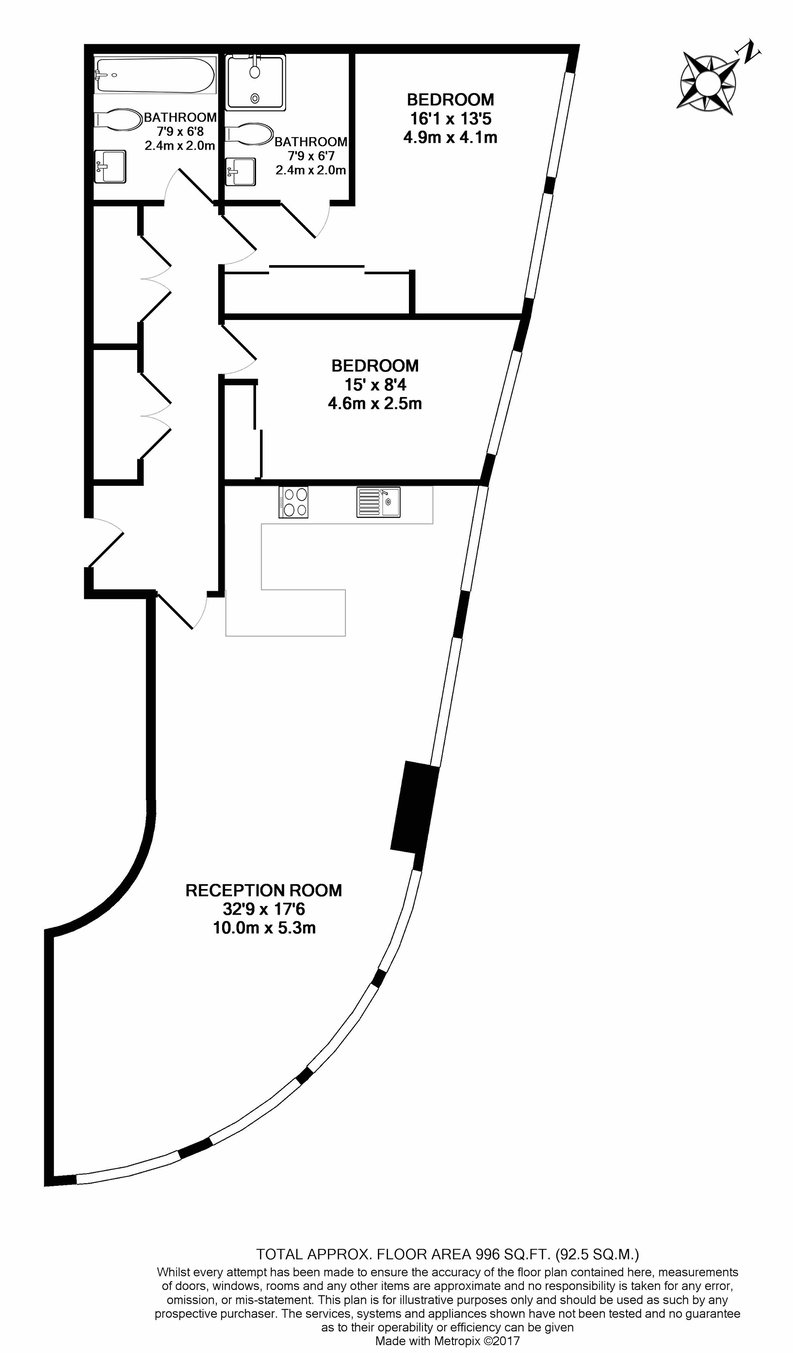 2 bedroom(s) apartment to sale in Ontario Tower, 4 Fairmont Avenue, Canary Wharf-Floorplan