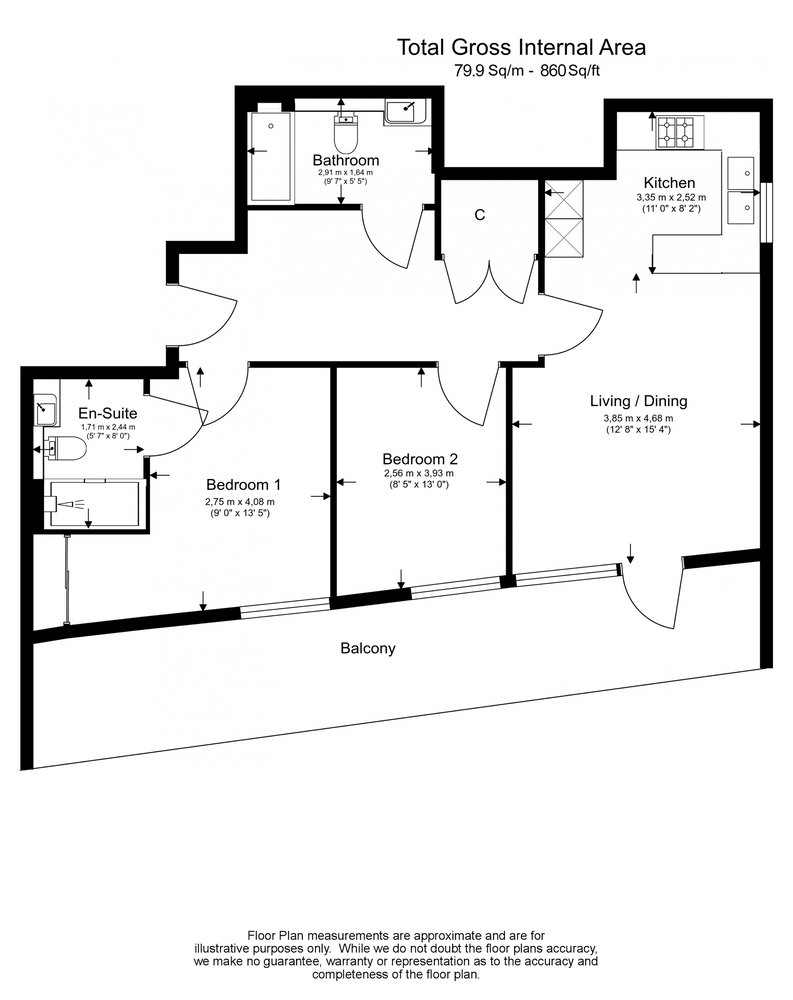 2 bedroom(s) apartment to sale in Montpellier House, Glenthorne Road, Hammersmith-Floorplan