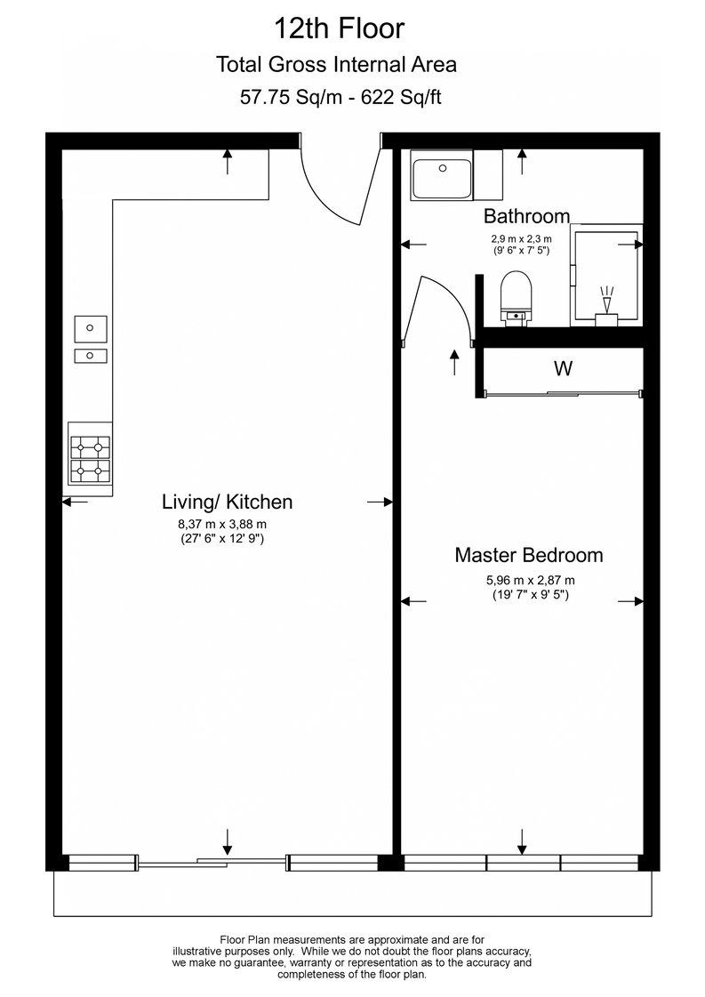 1 bedroom(s) apartment to sale in 10 Park Drive, Canary Wharf-Floorplan