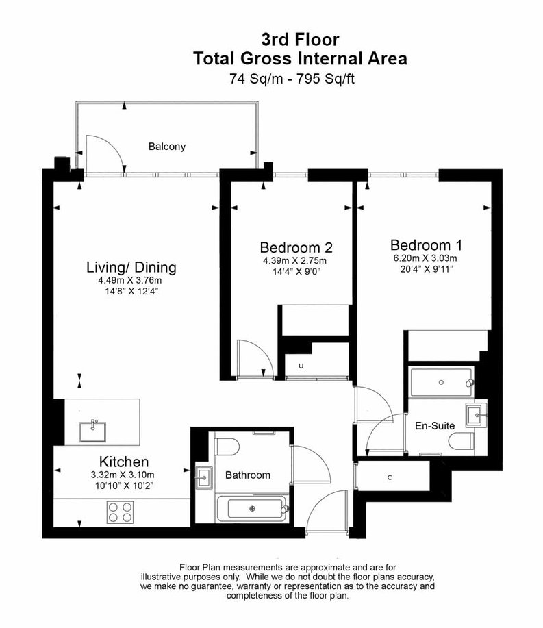 2 bedroom(s) apartment to sale in Fountain Park Way, London-Floorplan