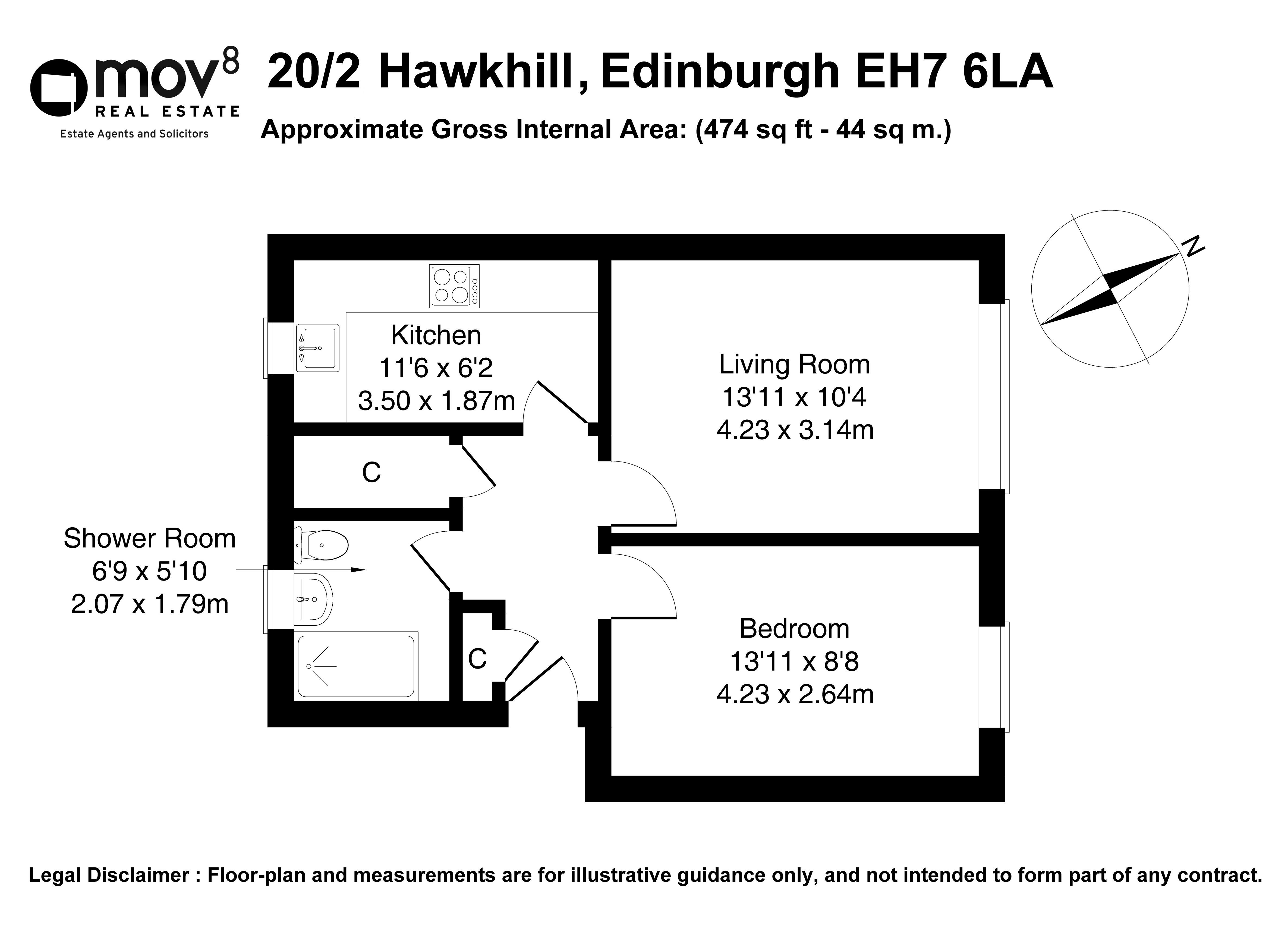 Floorplan 1 of 20/2, Hawkhill, Lochend, Edinburgh, EH7 6LA