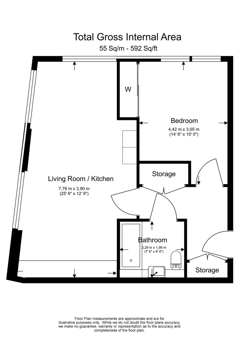 1 bedroom(s) apartment to sale in River Mill One, Station Road, Lewisham-Floorplan