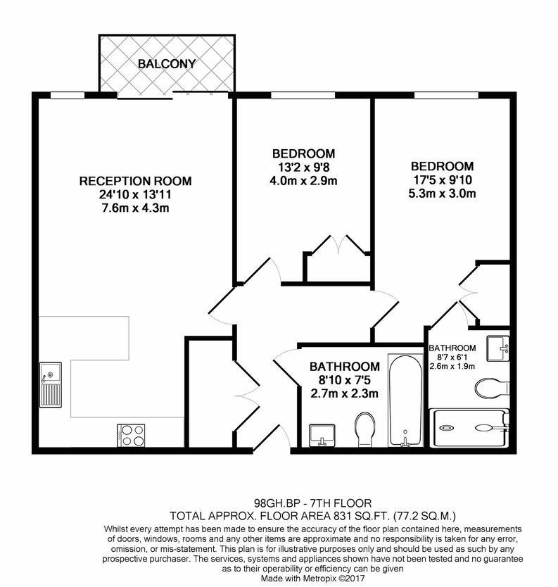 2 bedroom(s) apartment to sale in Goldhawk House, Beaufort Square, Colindale-Floorplan