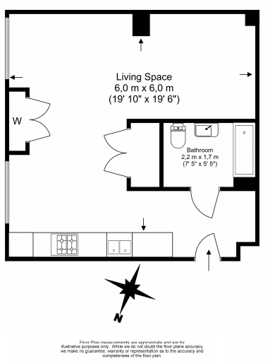 1 bedroom(s) apartment to sale in Denison House, Lanterns Way, Canary Wharf-Floorplan