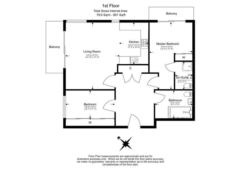2 bedroom(s) apartment to sale in Riverside Apartments, Goodchild Road, Woodberry Down, Manor House-Floorplan