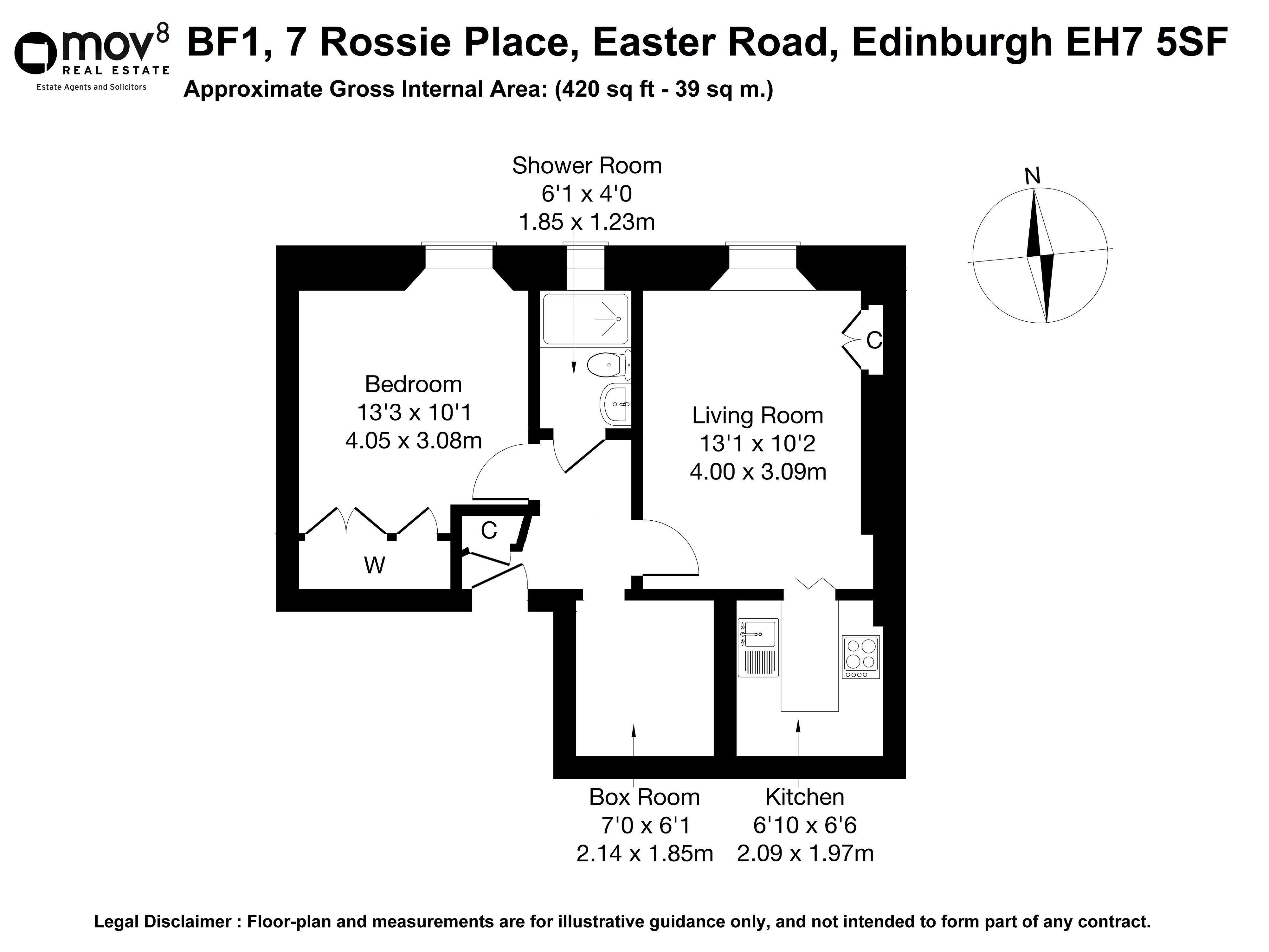 Floorplan 1 of BF1, 7 Rossie Place, Easter Road, Edinburgh, EH7 5SF