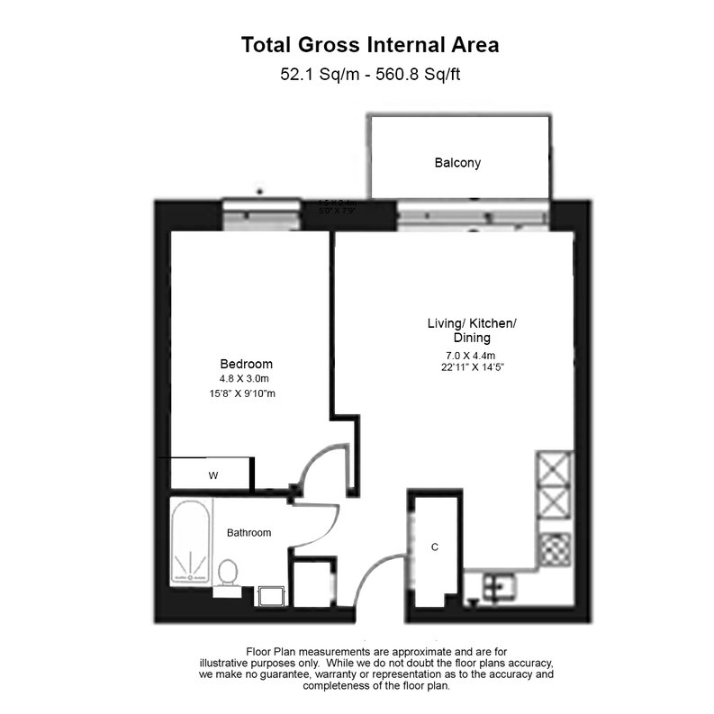 1 bedroom(s) apartment to sale in Willowbrook House, Woodberry Down, Finsbury Park-Floorplan